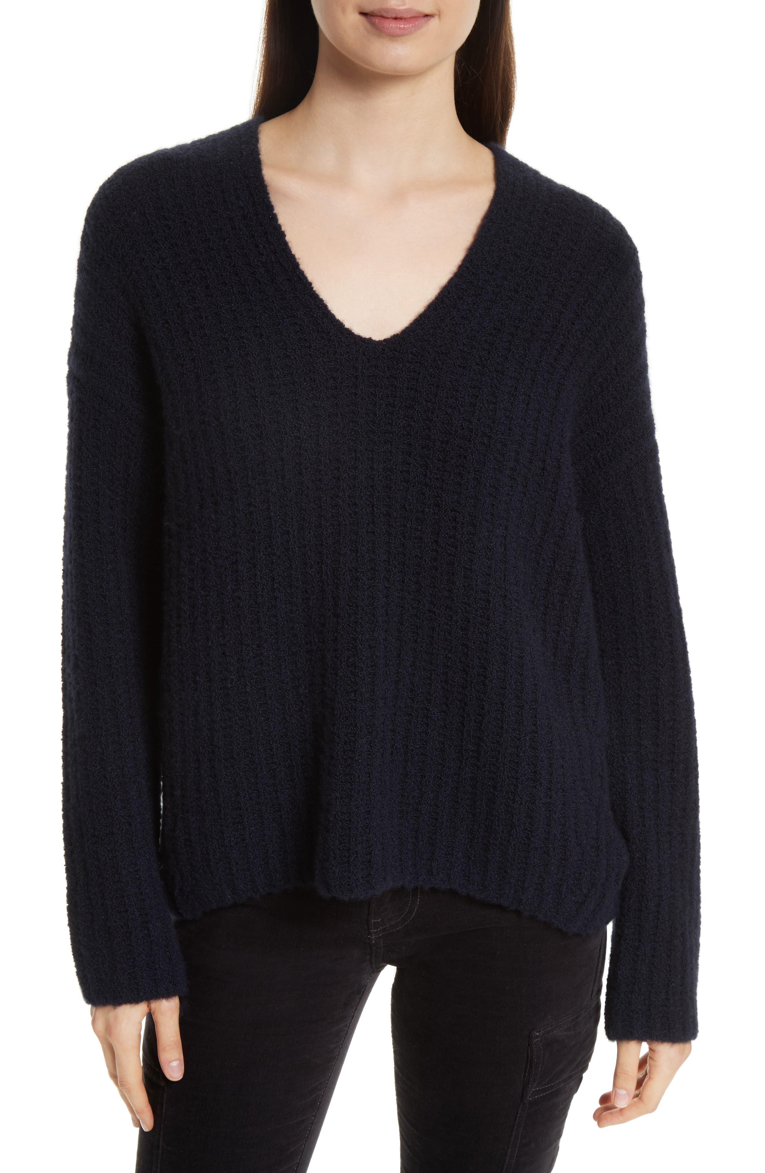 Deep V-Neck Cashmere Blend Sweater,                             Main thumbnail 3, color,