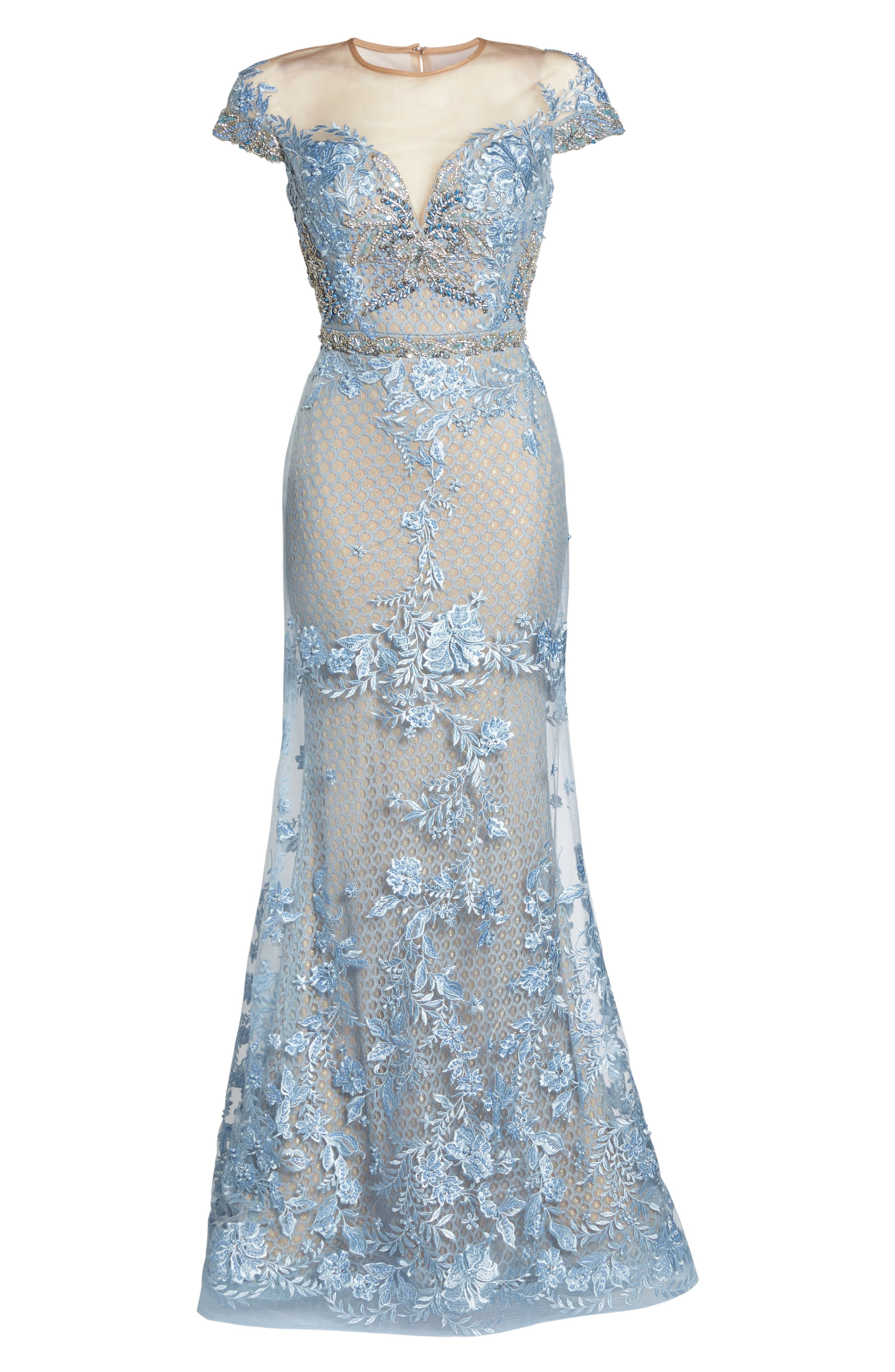 Beaded Lace Trumpet Gown,                             Alternate thumbnail 6, color,                             POWDER BLUE
