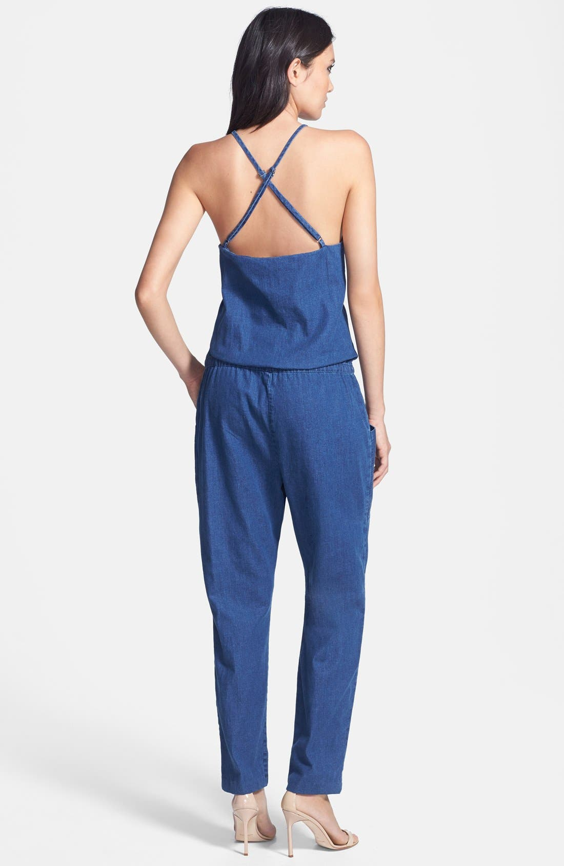 Spaghetti Strap Denim Jumpsuit,                             Alternate thumbnail 3, color,                             400