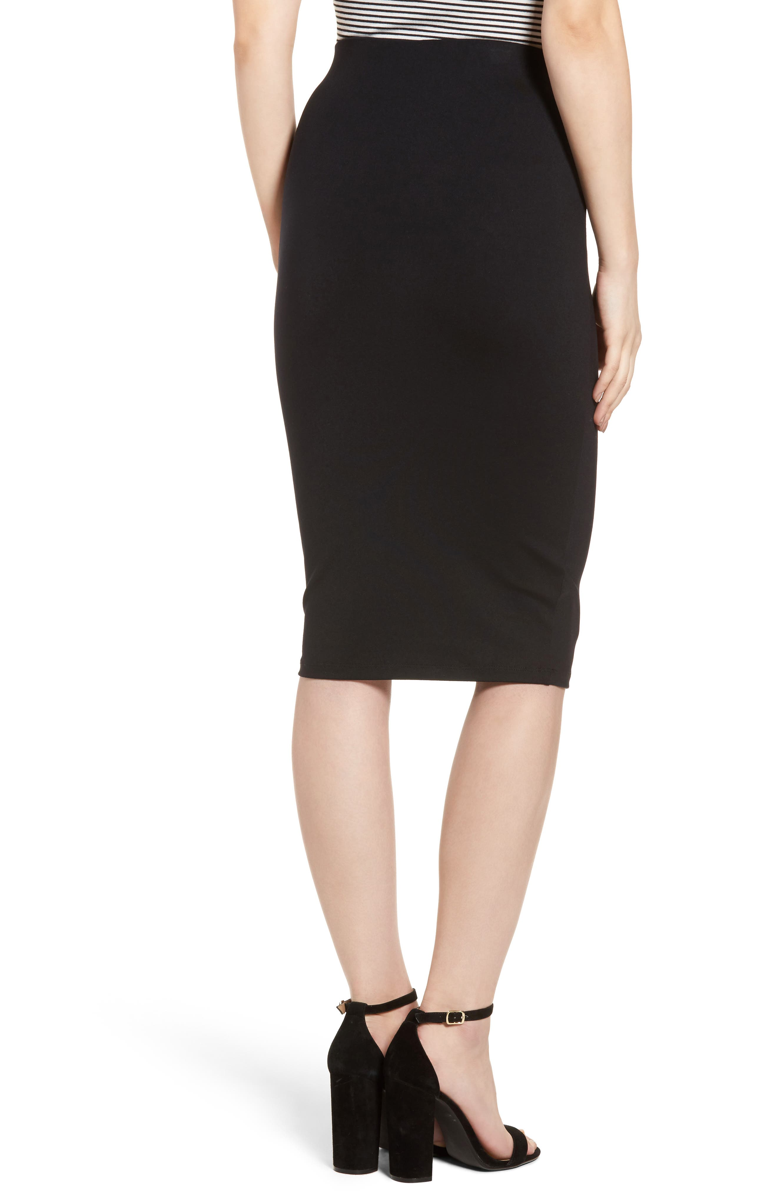Tube High Rise Pencil Skirt,                             Alternate thumbnail 2, color,                             BLACK