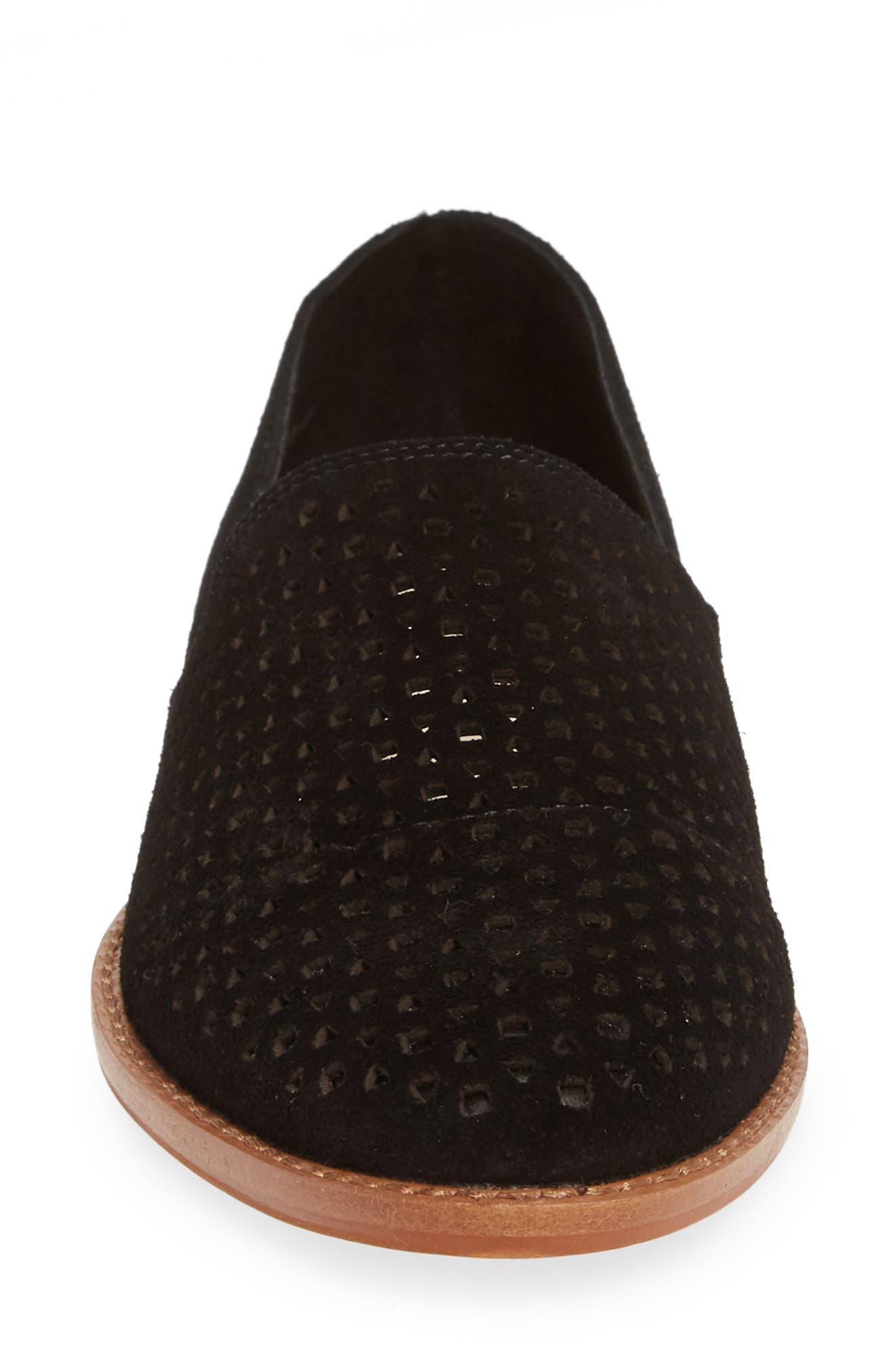 CASLON<SUP>®</SUP>,                             Adrian Perforated Flat,                             Alternate thumbnail 4, color,                             BLACK SUEDE