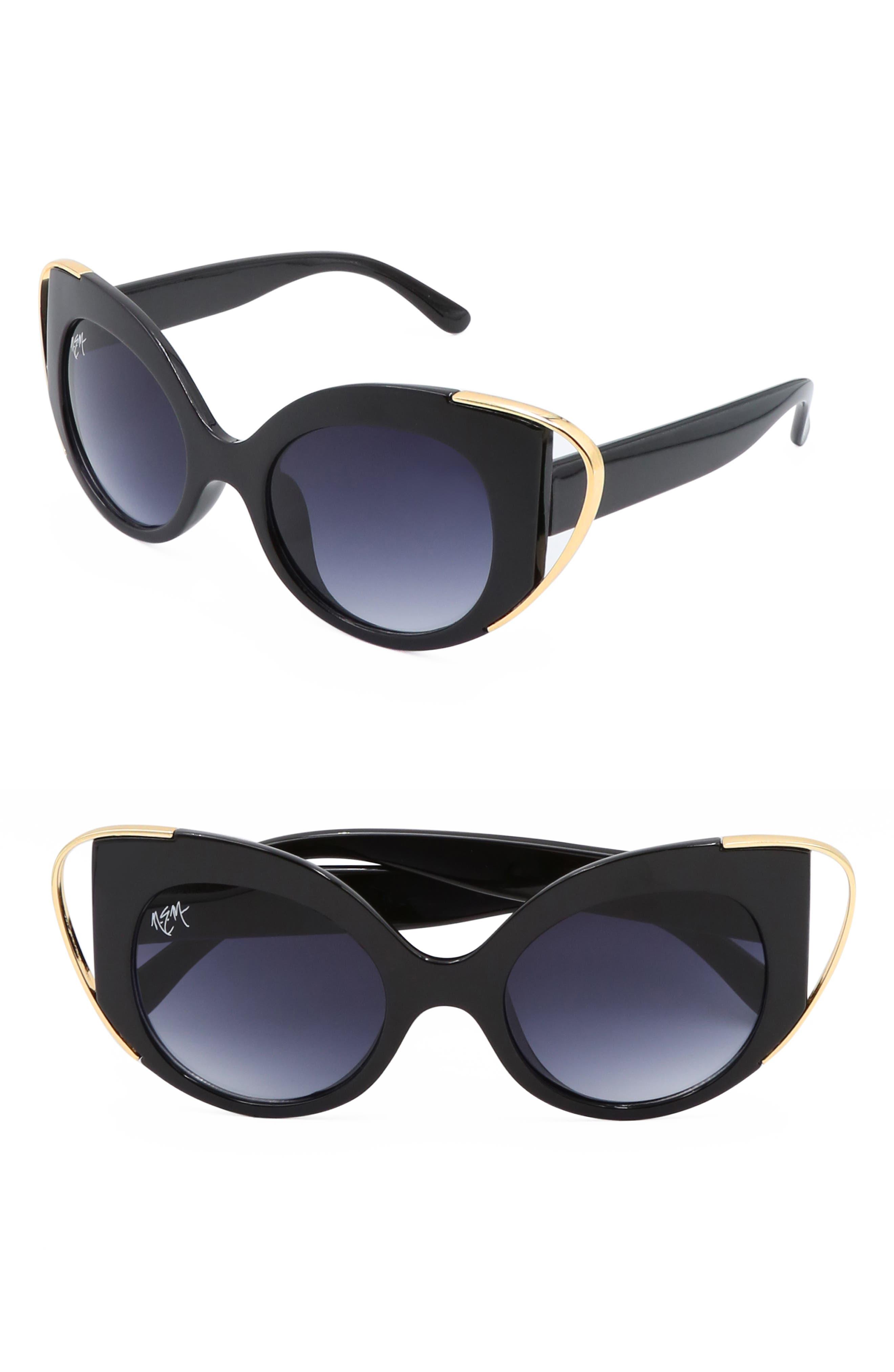 Audrey 50mm Cutout Cat Eye Sunglasses,                             Main thumbnail 1, color,                             BLACK W DARK LENS