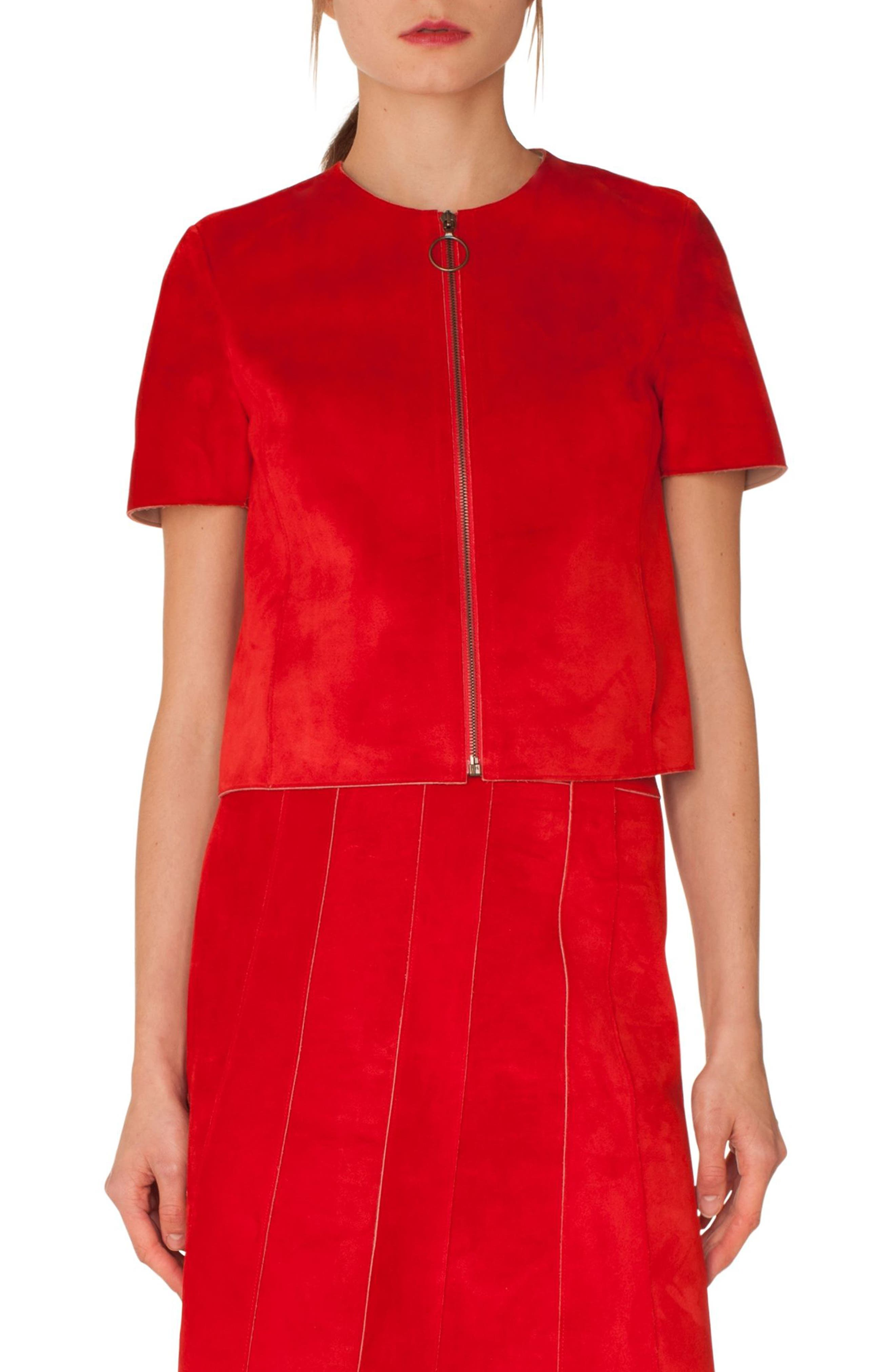 AKRIS PUNTO Zip-Front Short-Sleeve Leather Suede Jacket in Lipstick