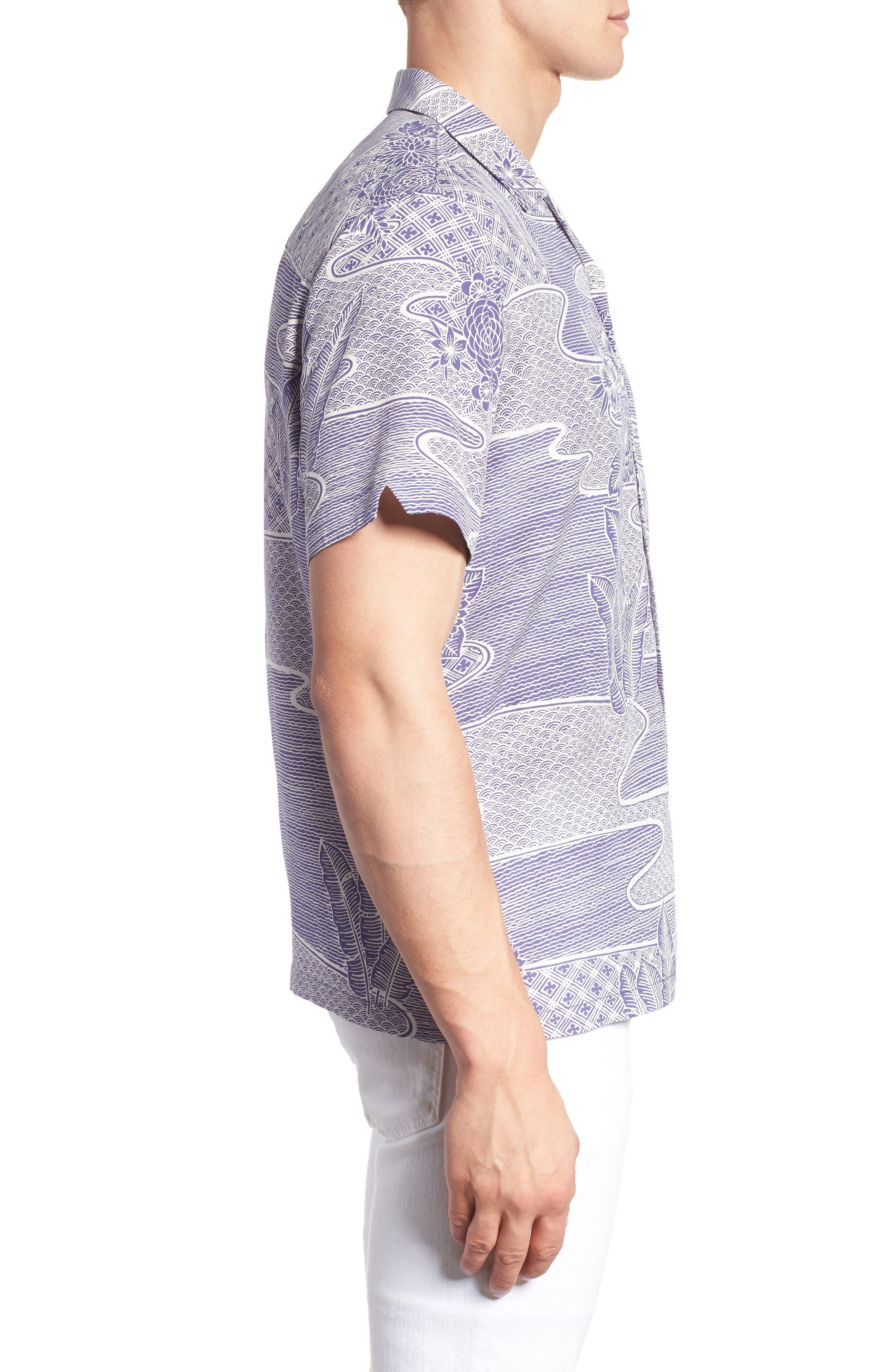 Zen Garden Trim Fit Silk Blend Camp Shirt,                             Alternate thumbnail 3, color,                             AMETHYST