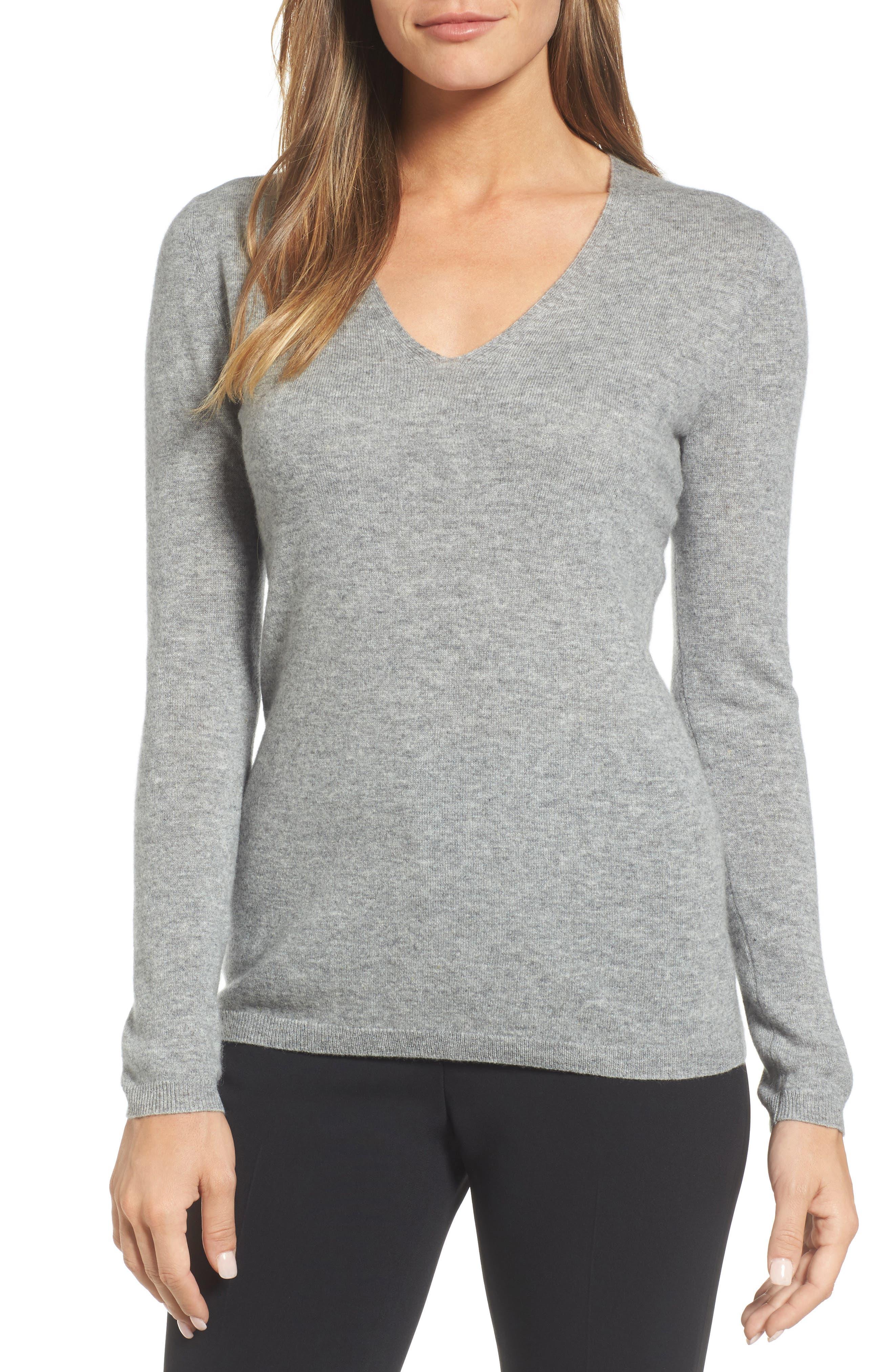 Cashmere V-Neck Sweater,                             Main thumbnail 1, color,                             030