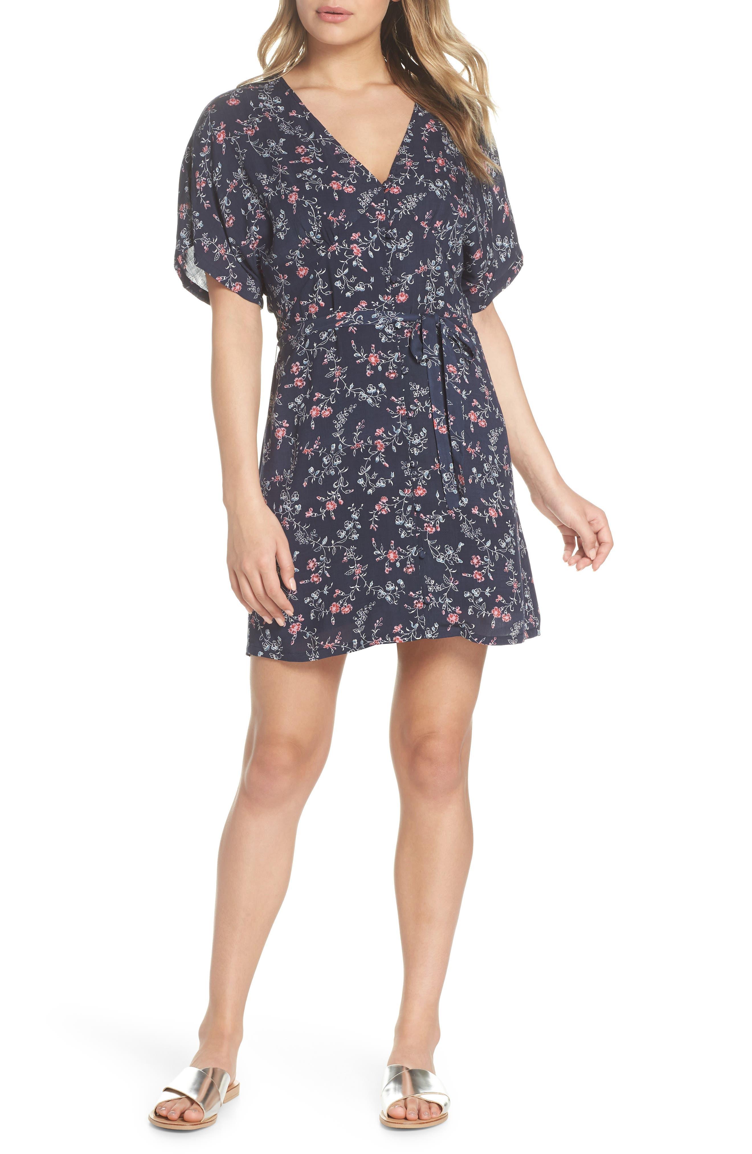Cherelle Floral Print Minidress,                         Main,                         color, 400