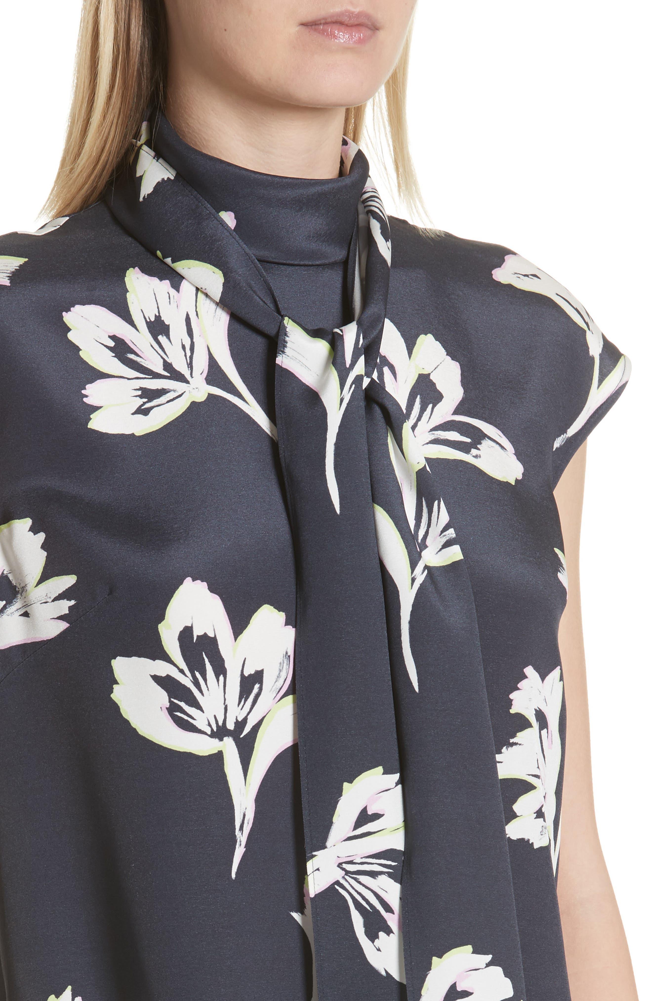 Falling Flower Print Stretch Silk Top,                             Alternate thumbnail 4, color,                             002