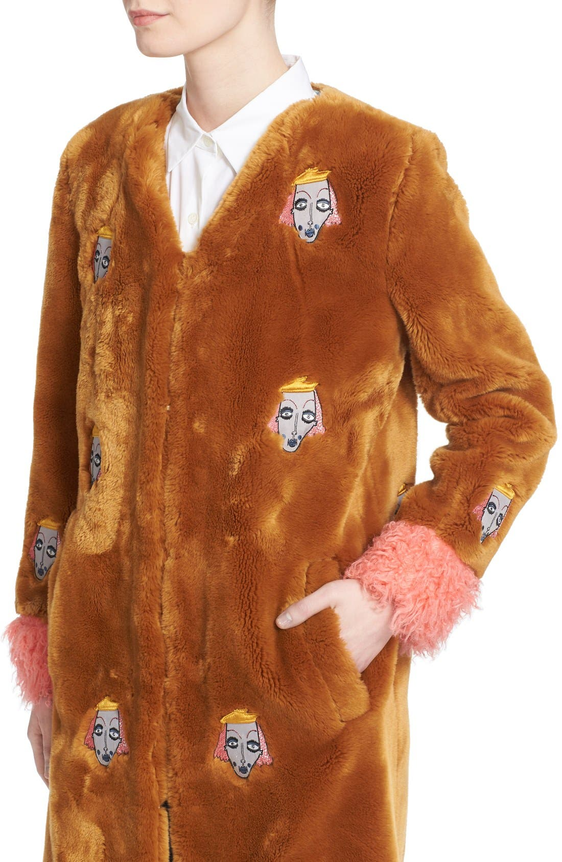 'Frenchie' Faux Fur Coat with Patches,                             Alternate thumbnail 4, color,                             240
