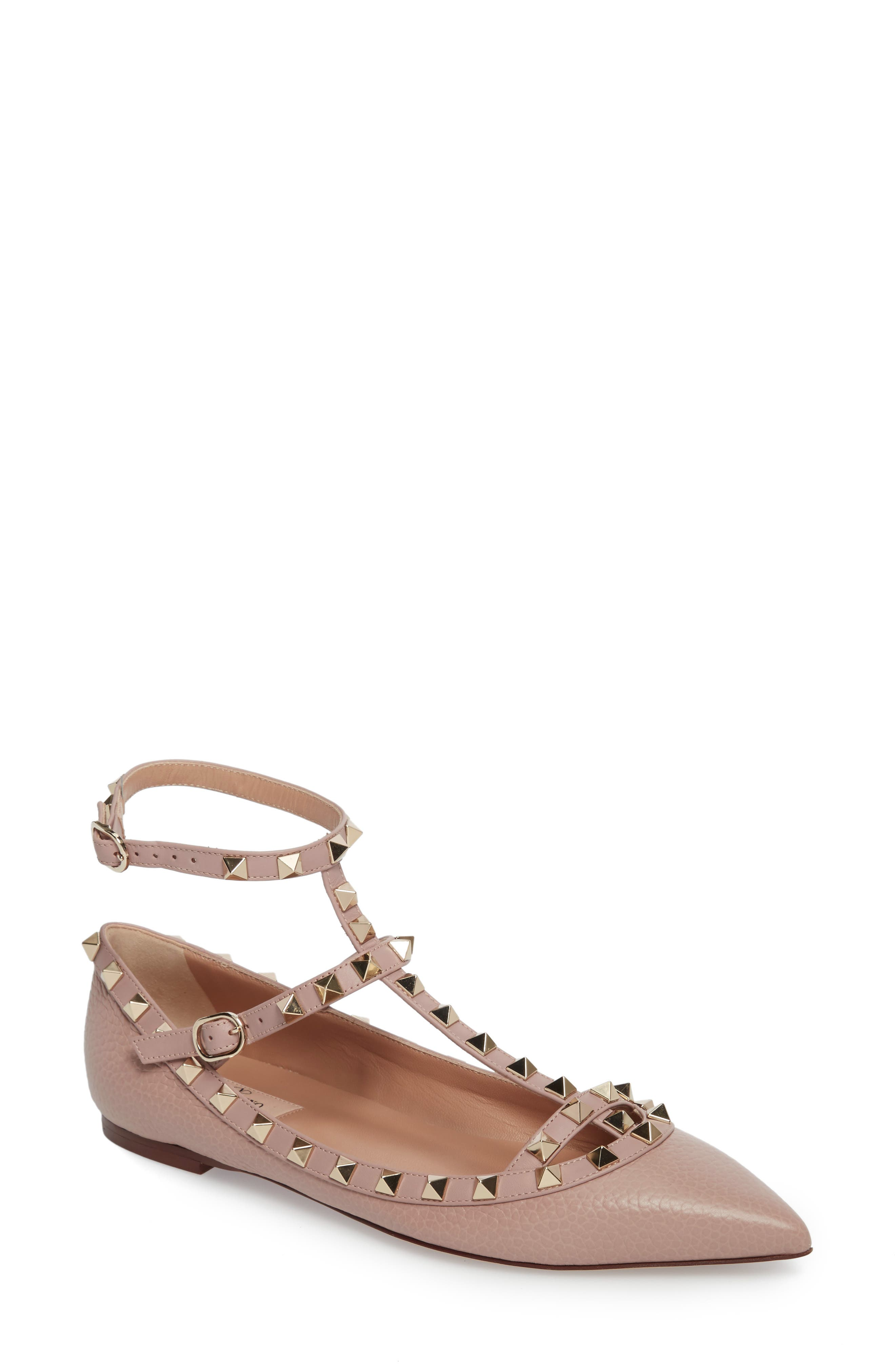 Rockstud Ankle Strap Pointy Toe Flat,                             Main thumbnail 1, color,                             BEIGE