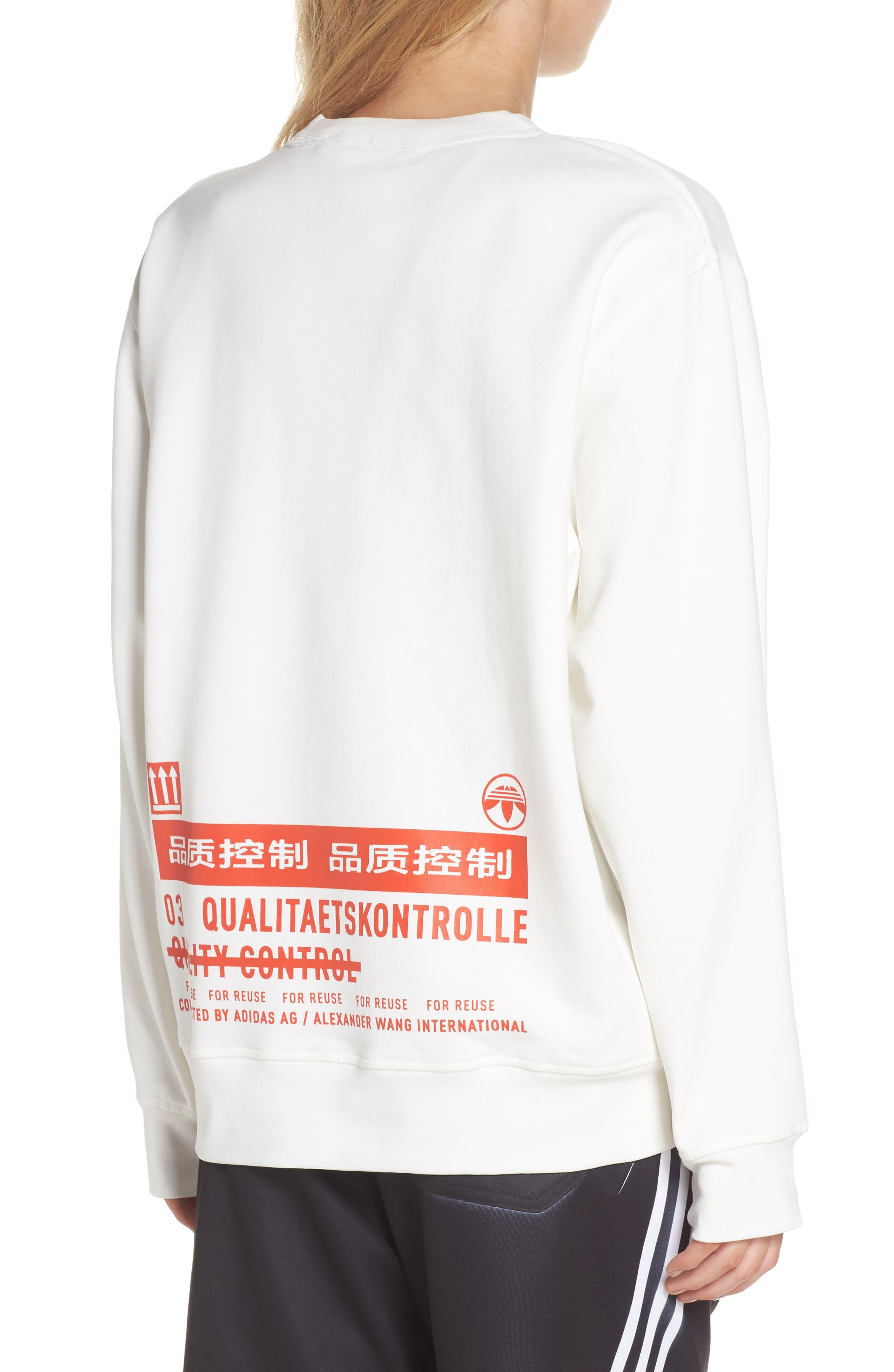 adidas x Alexander Wang Graphite Sweatshirt,                             Alternate thumbnail 2, color,                             900