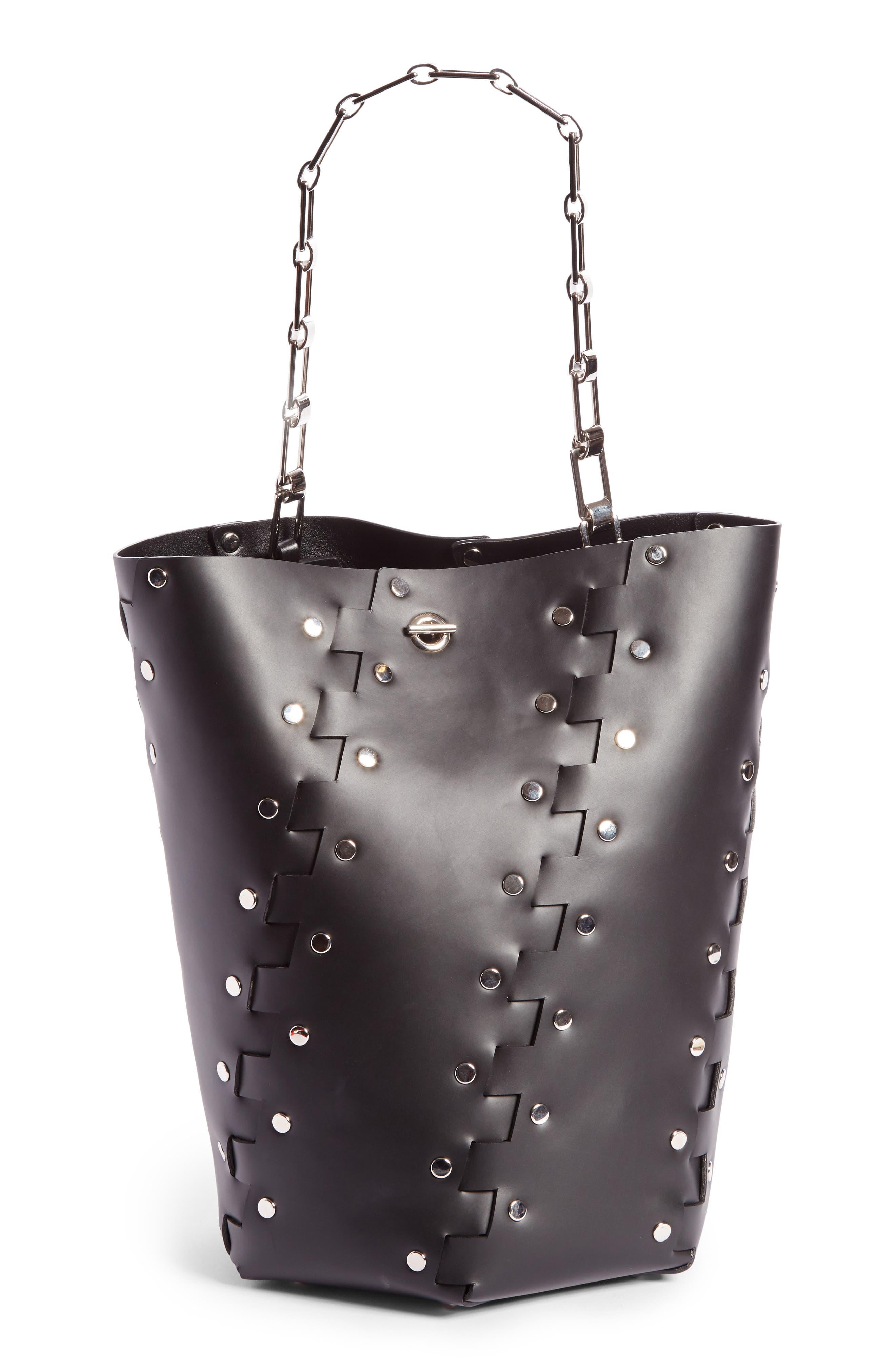 Medium Hex Studded Leather Bucket Bag,                             Main thumbnail 1, color,                             001