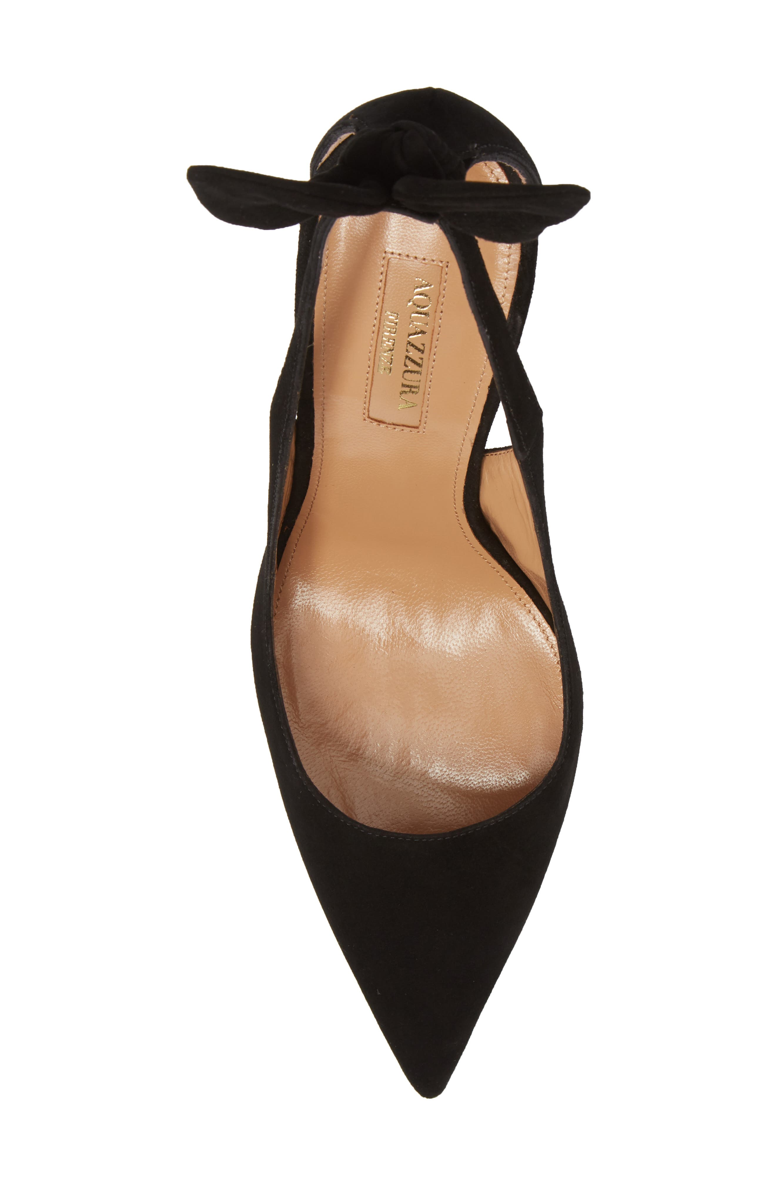 Deneuve Bow Pointy Toe Pump,                             Alternate thumbnail 5, color,                             BLACK