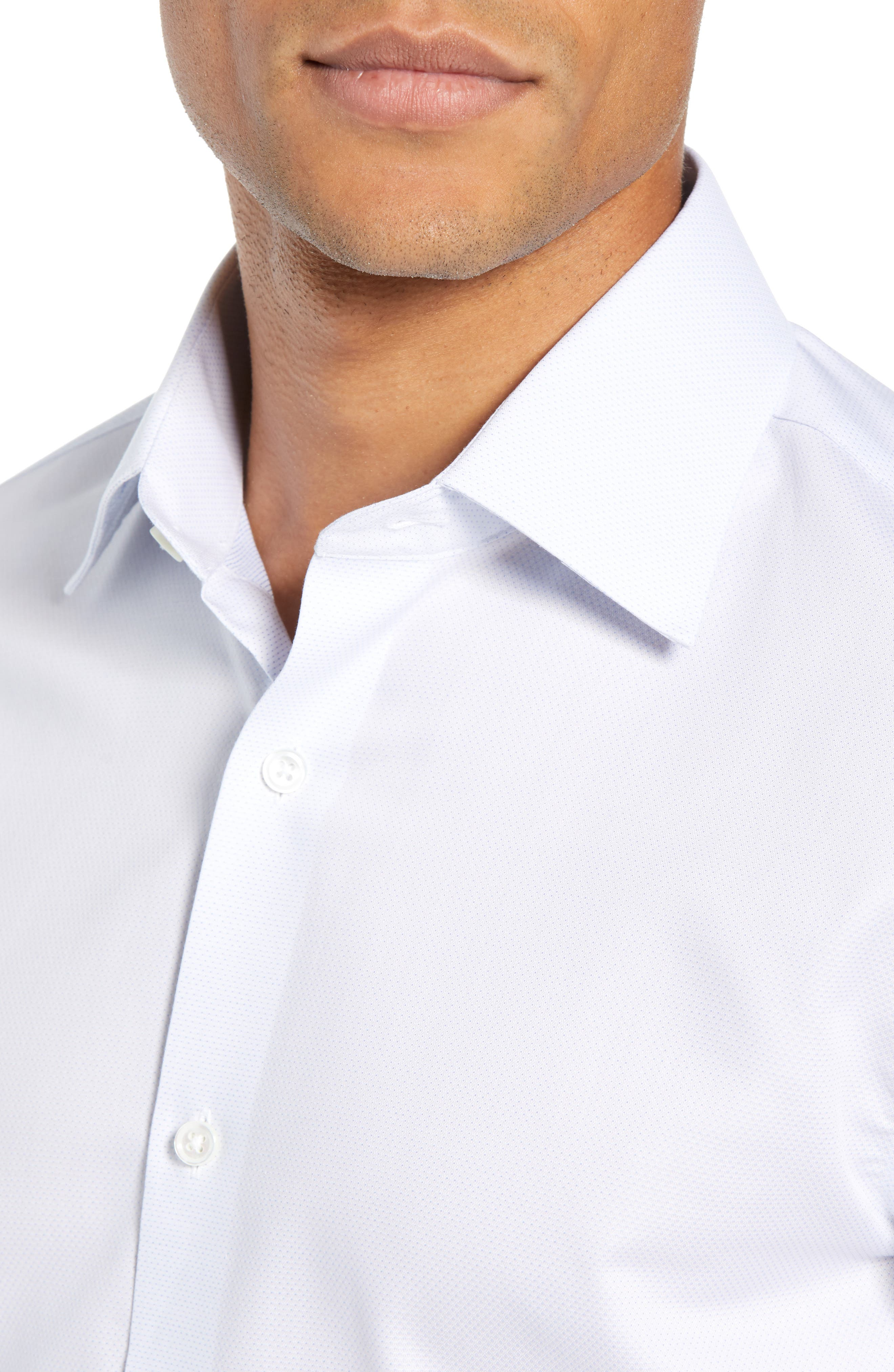 Swiss Performance Slim Fit Solid Dress Shirt,                             Alternate thumbnail 2, color,                             SOFT BLUE