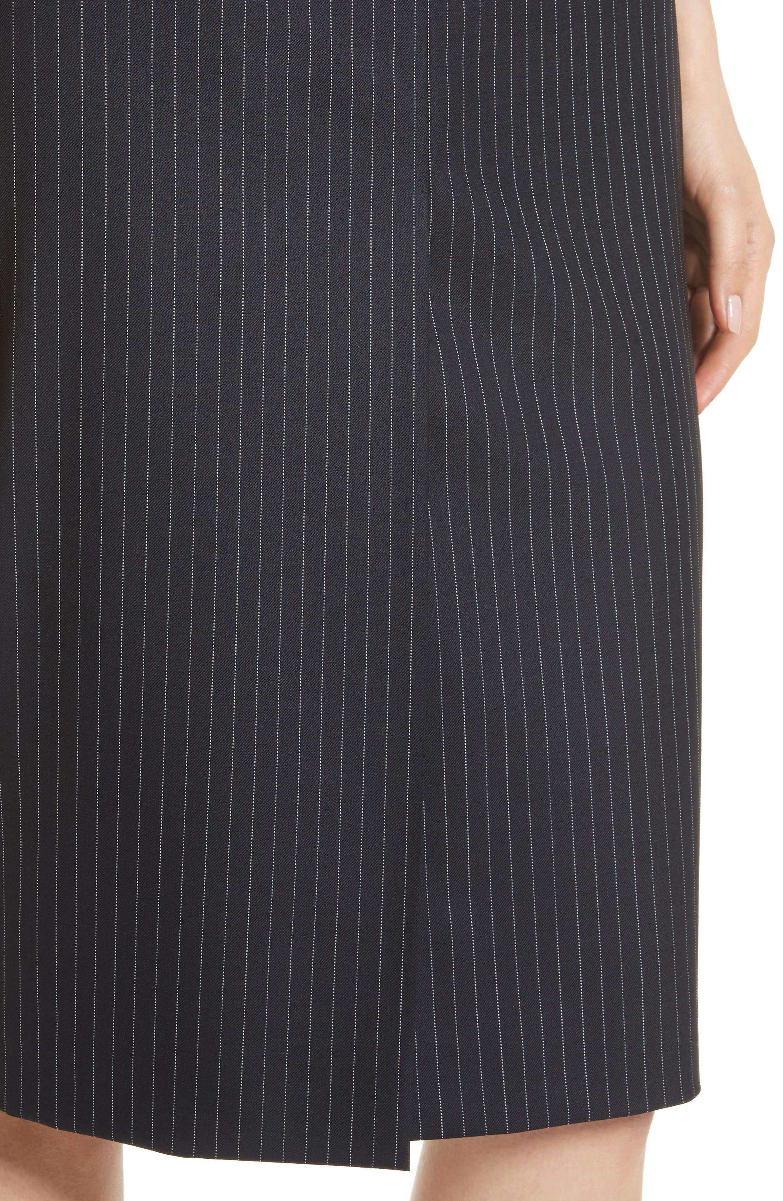Abba Pinstripe Pencil Skirt,                             Alternate thumbnail 4, color,                             411