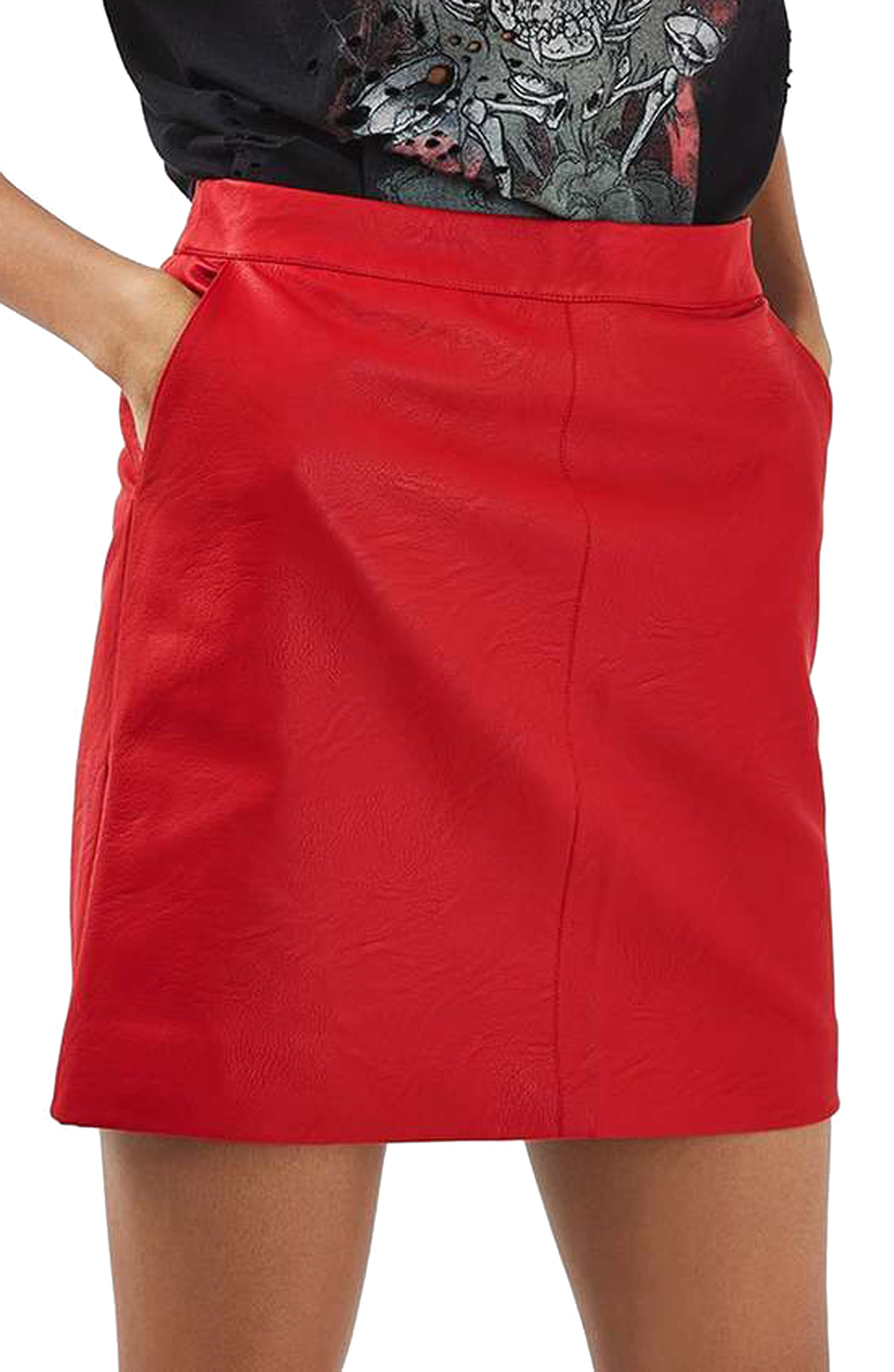 Faux Leather Pencil Skirt,                             Main thumbnail 3, color,