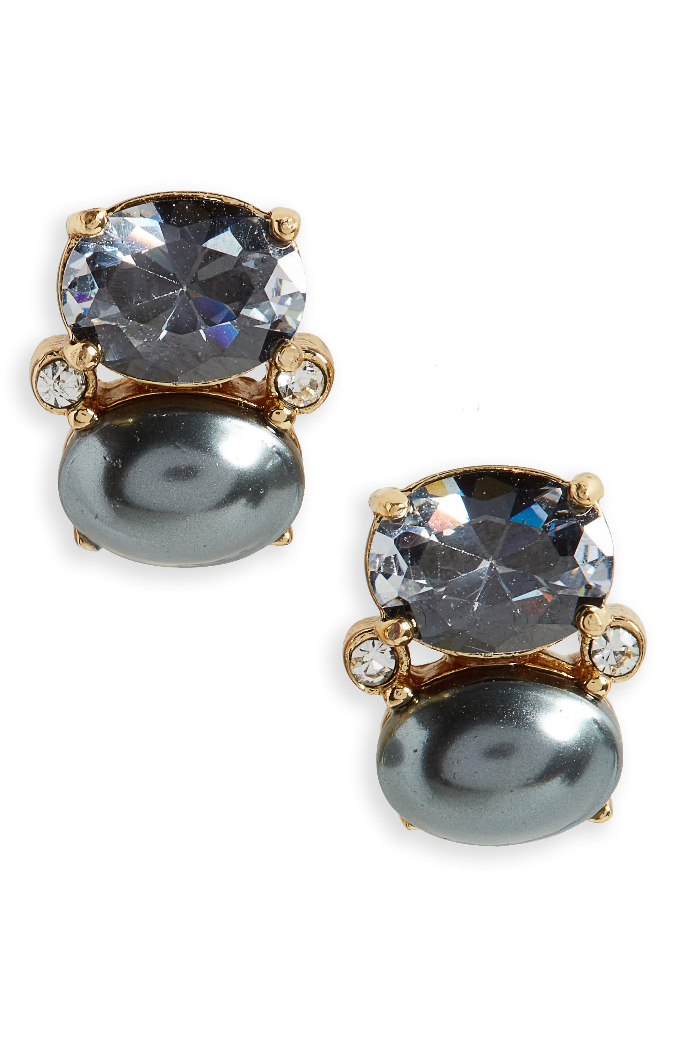 shine on crystal stud earrings,                             Main thumbnail 1, color,                             001