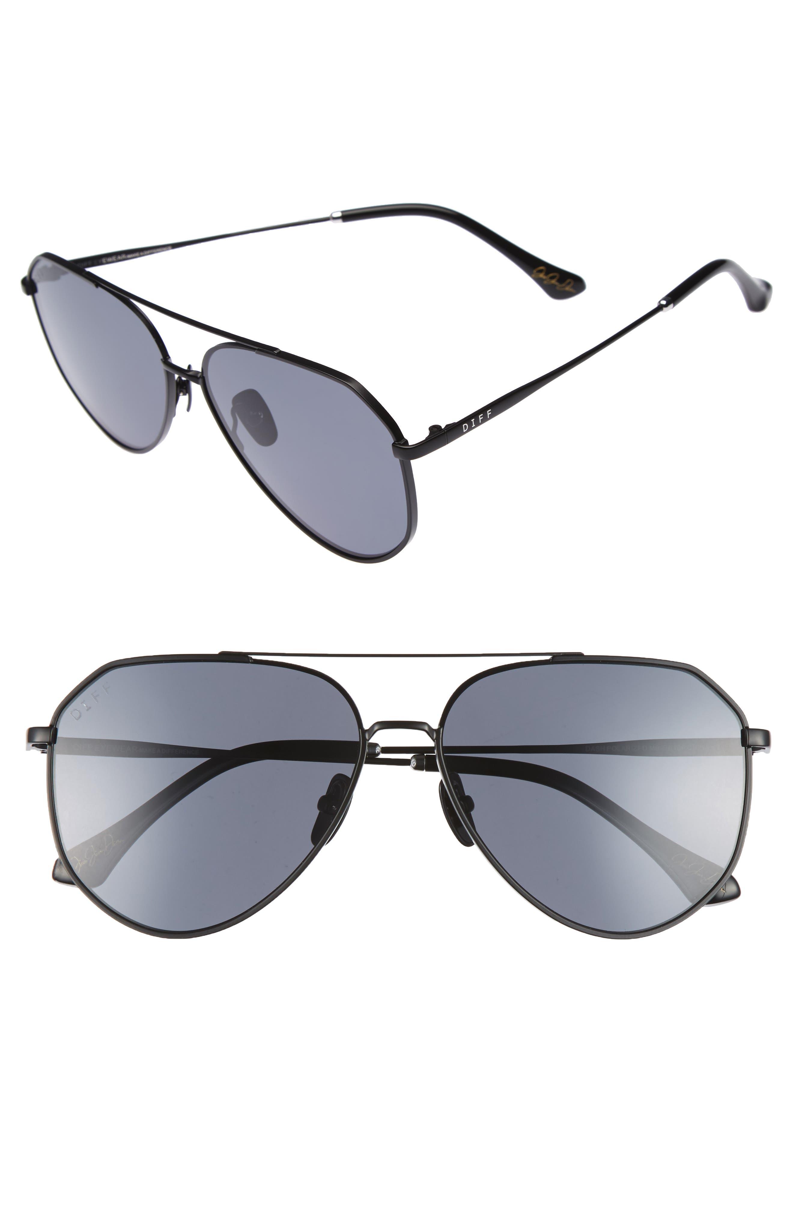 x Jessie James Decker Dash 61mm Polarized Aviator Sunglasses,                         Main,                         color, BLACK/ GREY