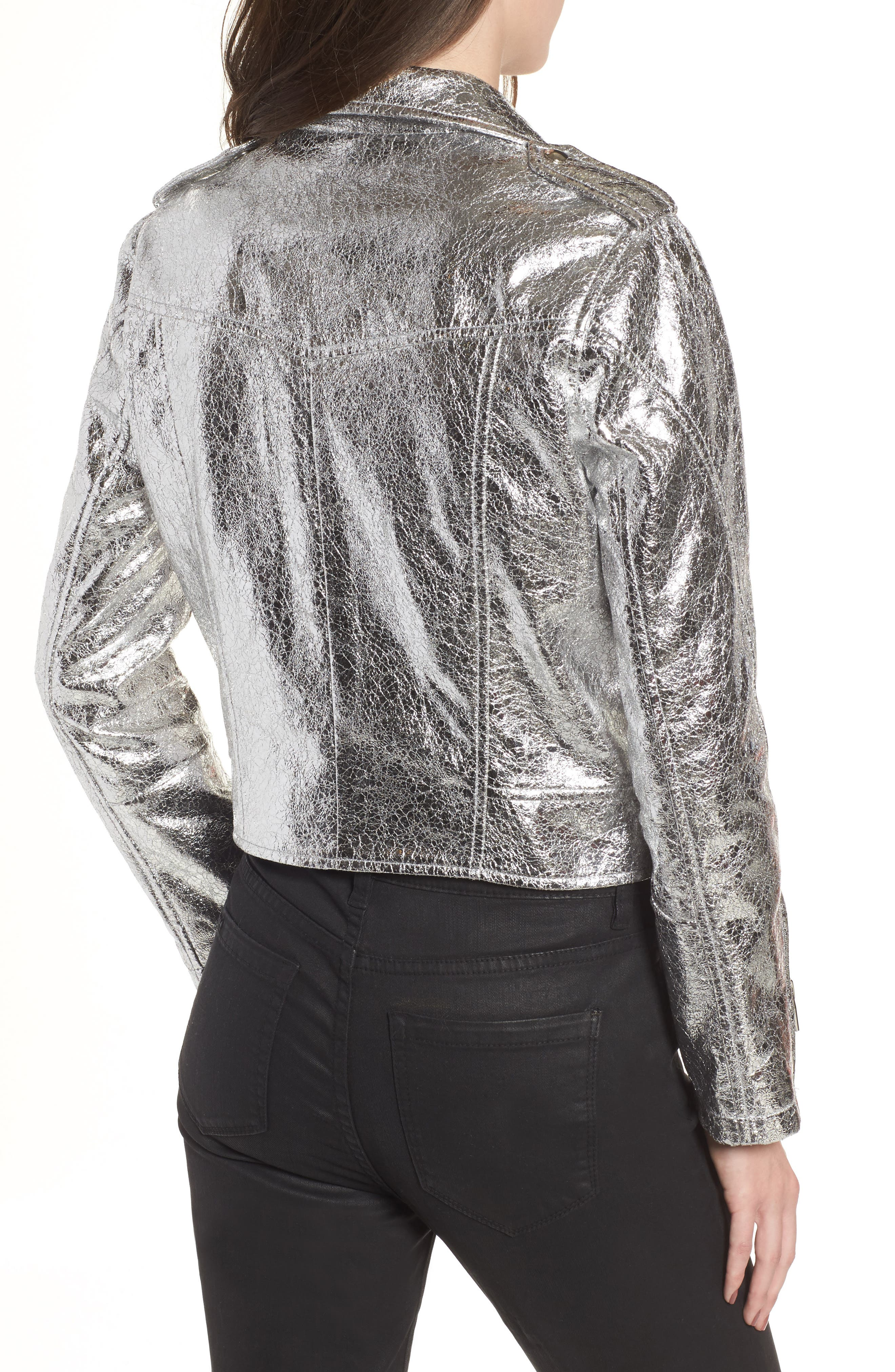 Metallic Faux Leather Moto Jacket,                             Alternate thumbnail 2, color,