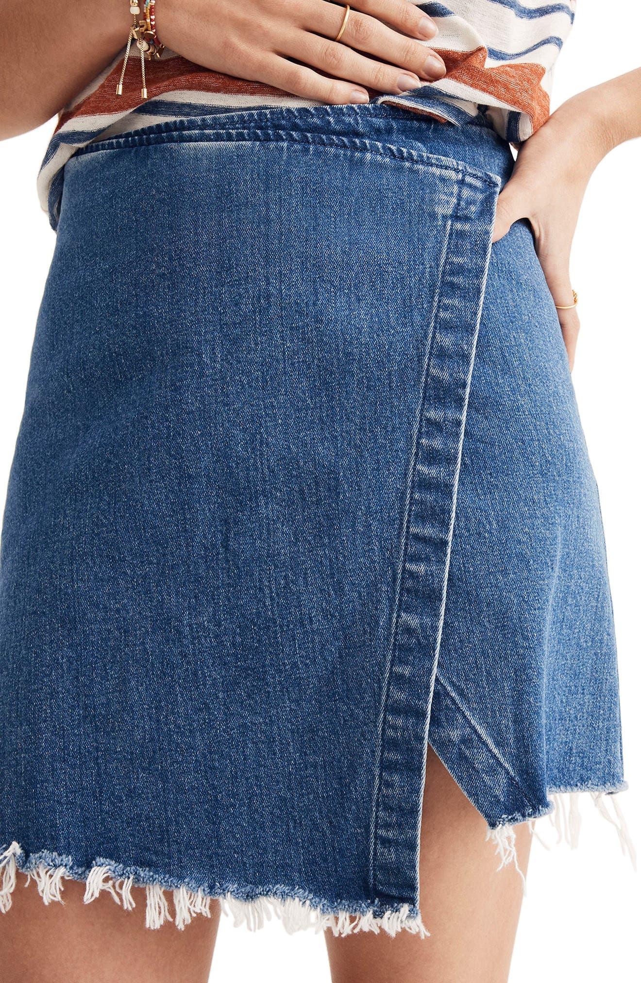 Denim Faux Wrap Mini Skirt,                             Alternate thumbnail 3, color,                             400