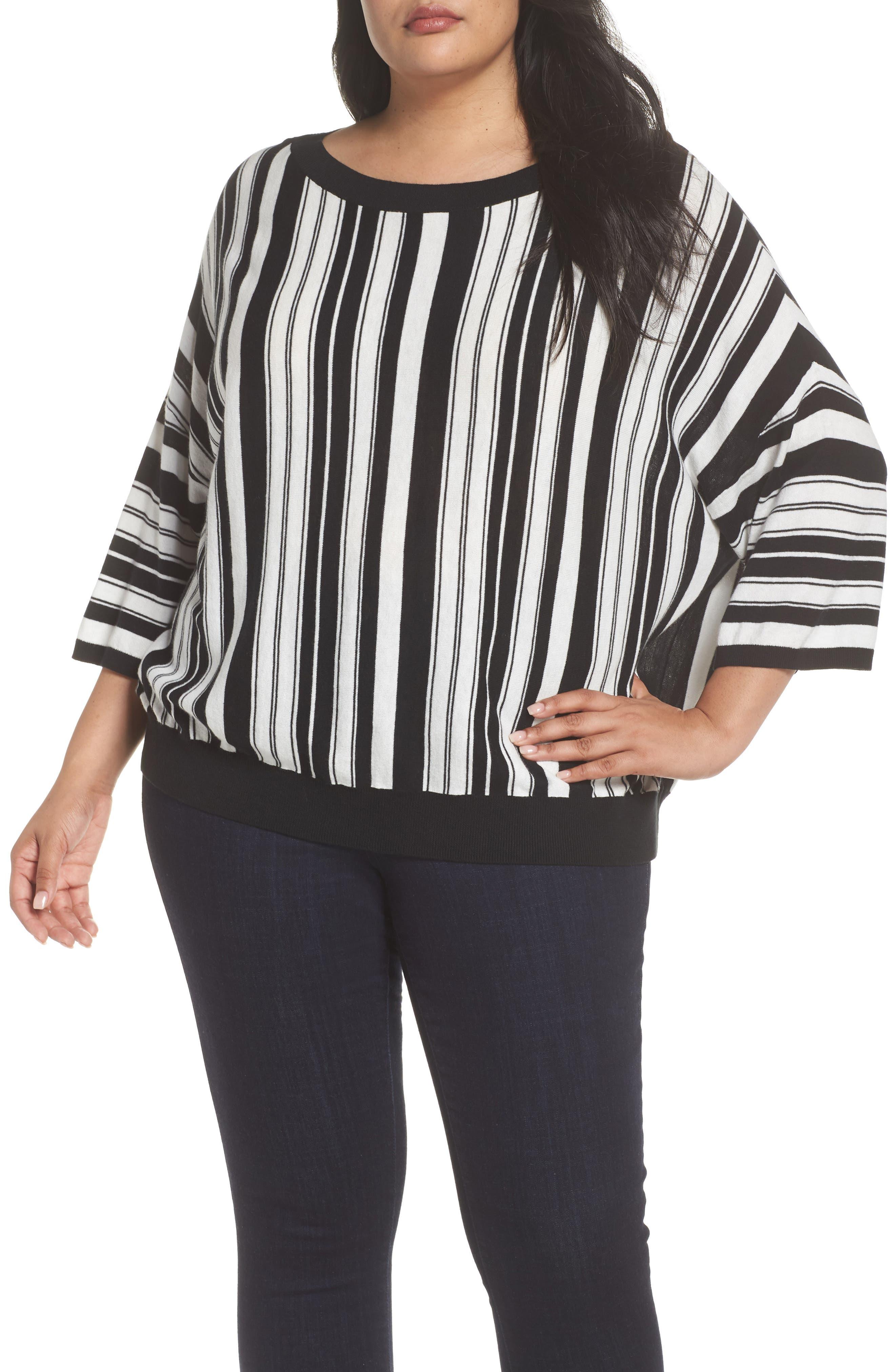 Stripe Pullover,                         Main,                         color, BLACK- WHITE FIERCE STRIPE