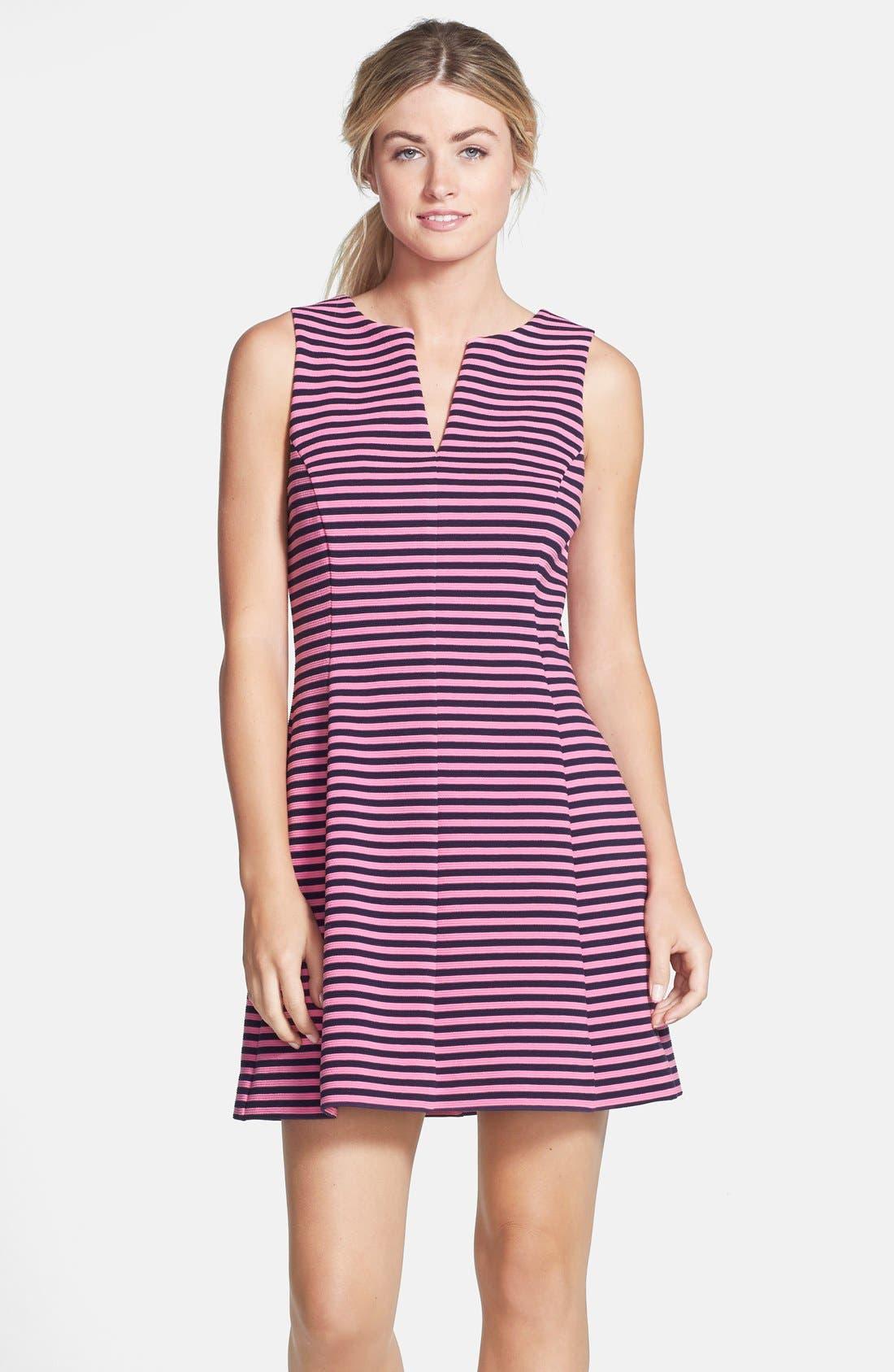 'Brielle' Stripe Fit & Flare Dress,                             Main thumbnail 1, color,                             650