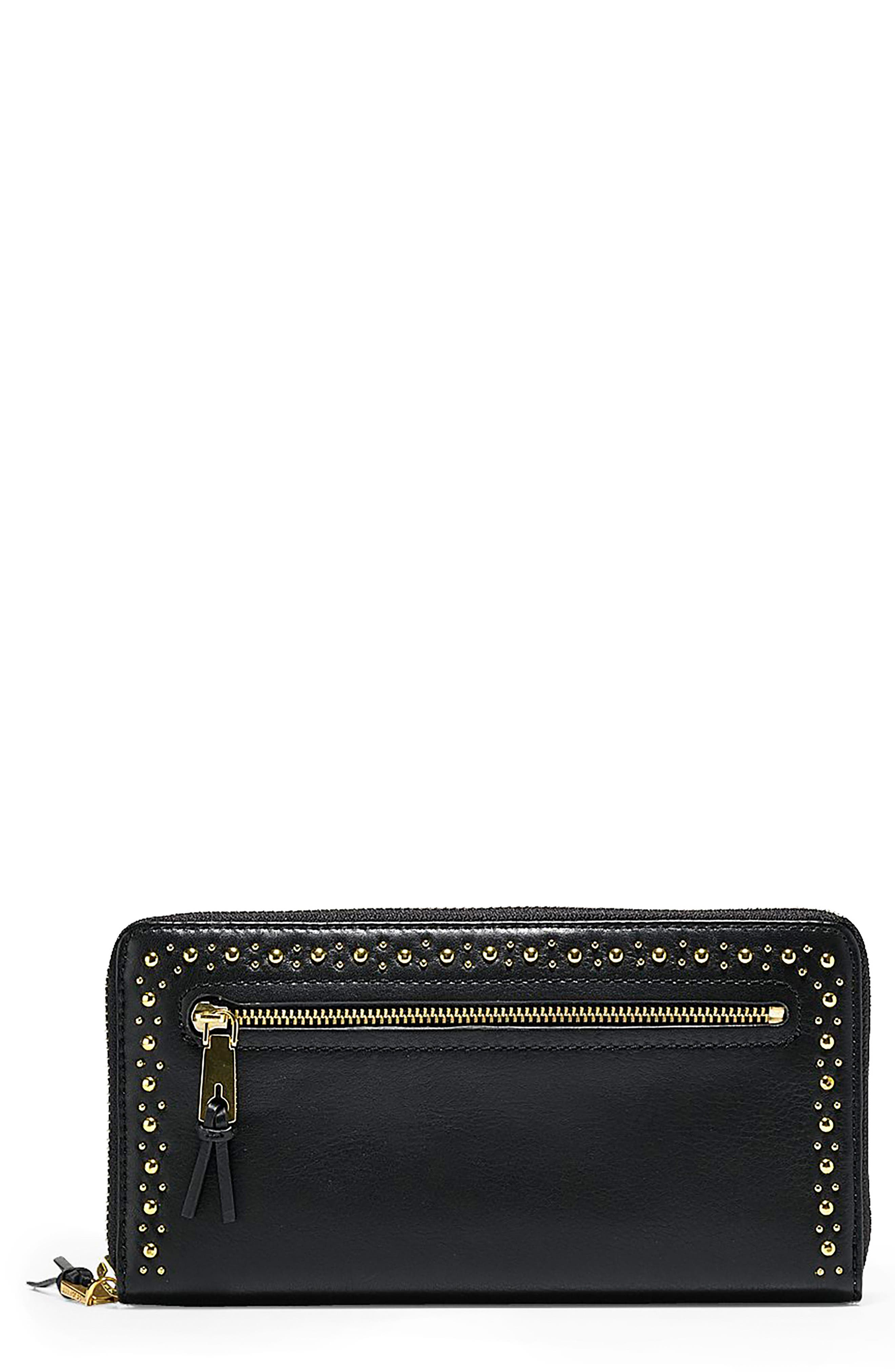 Marli Studded Metallic Leather Continental Wallet, Main, color, 001