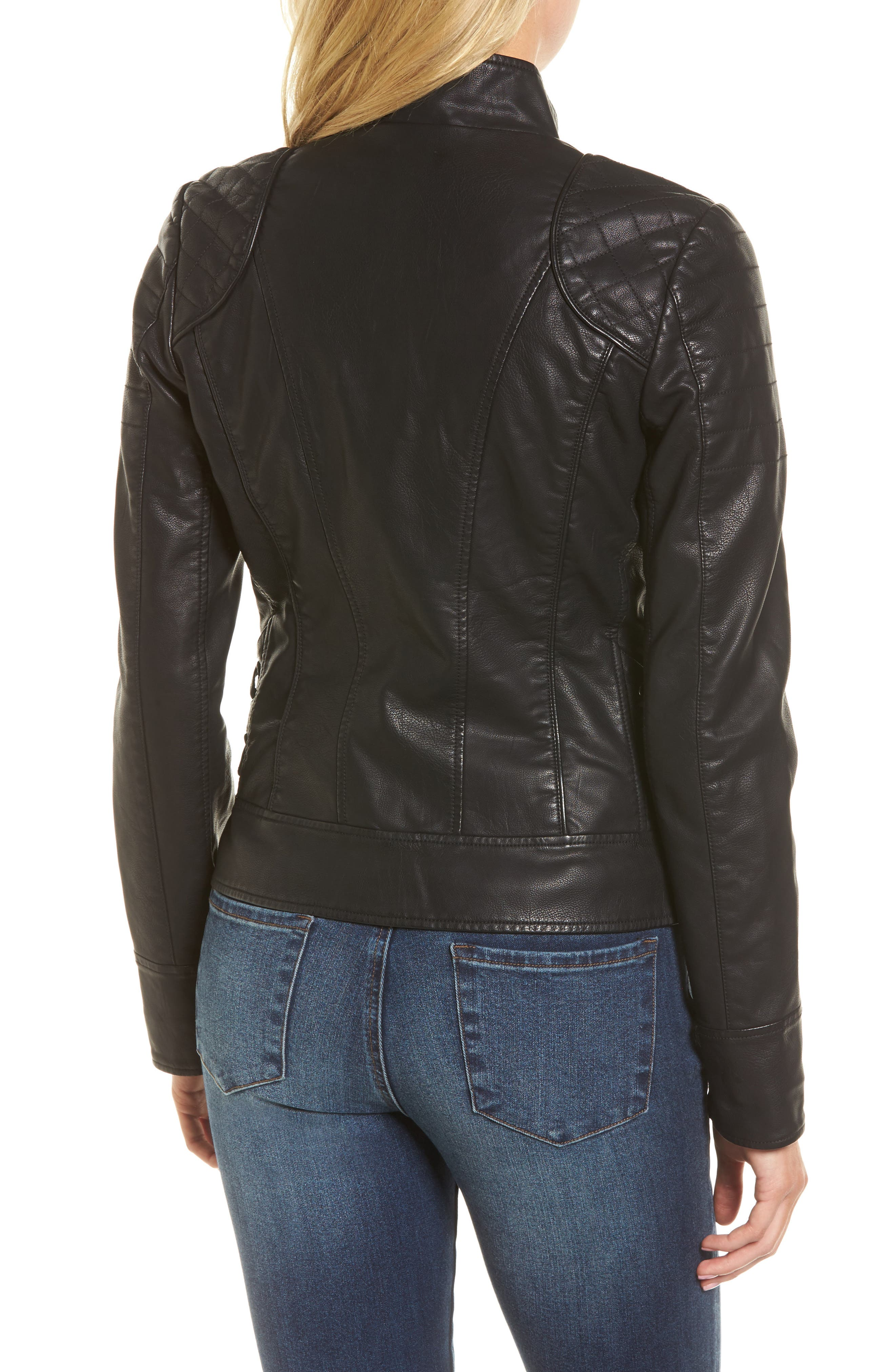 GUESS,                             Side Lace Faux Leather Jacket,                             Alternate thumbnail 2, color,                             001
