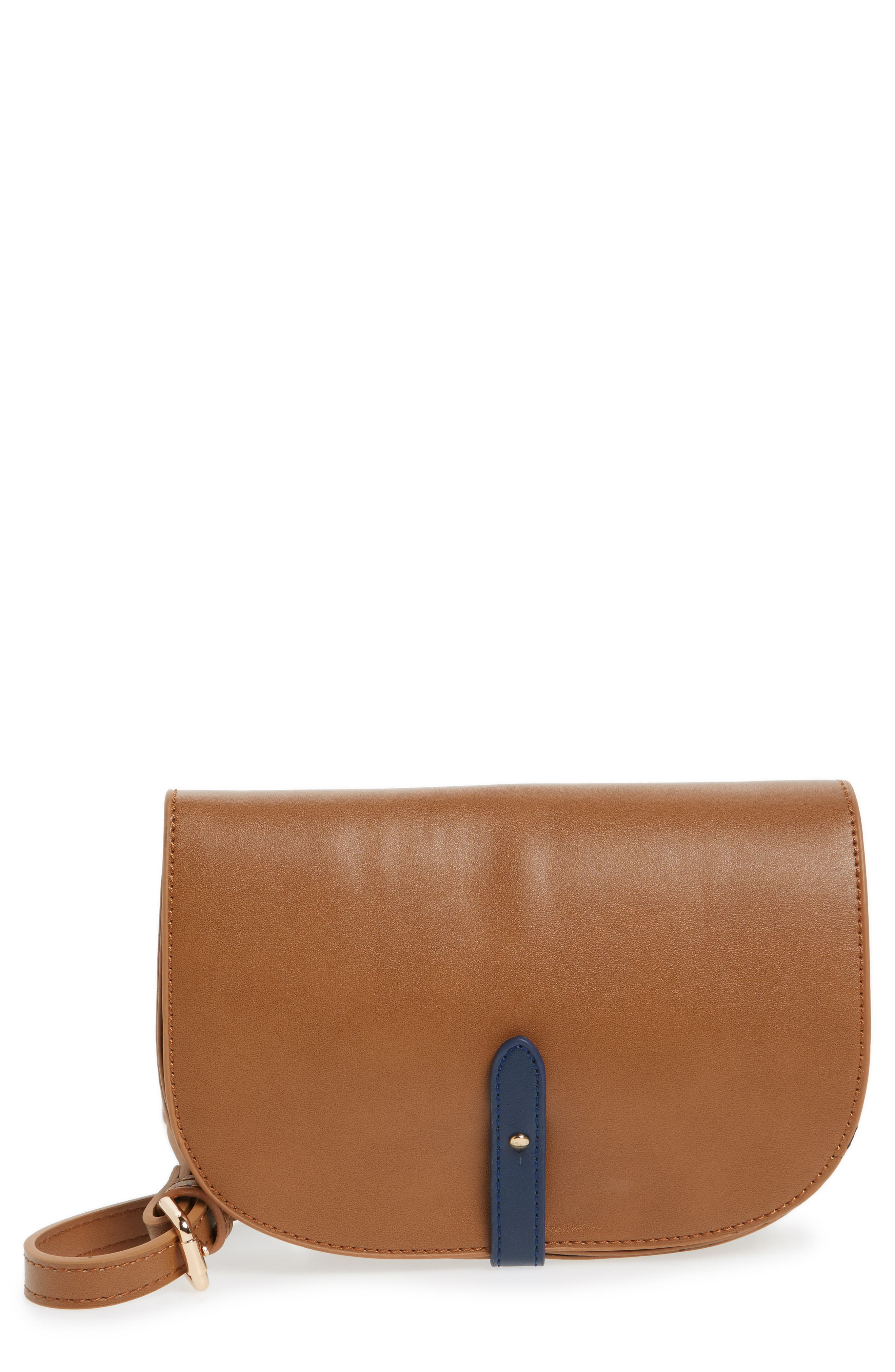 Faux Leather Half Moon Crossbody Bag, Main, color, 260