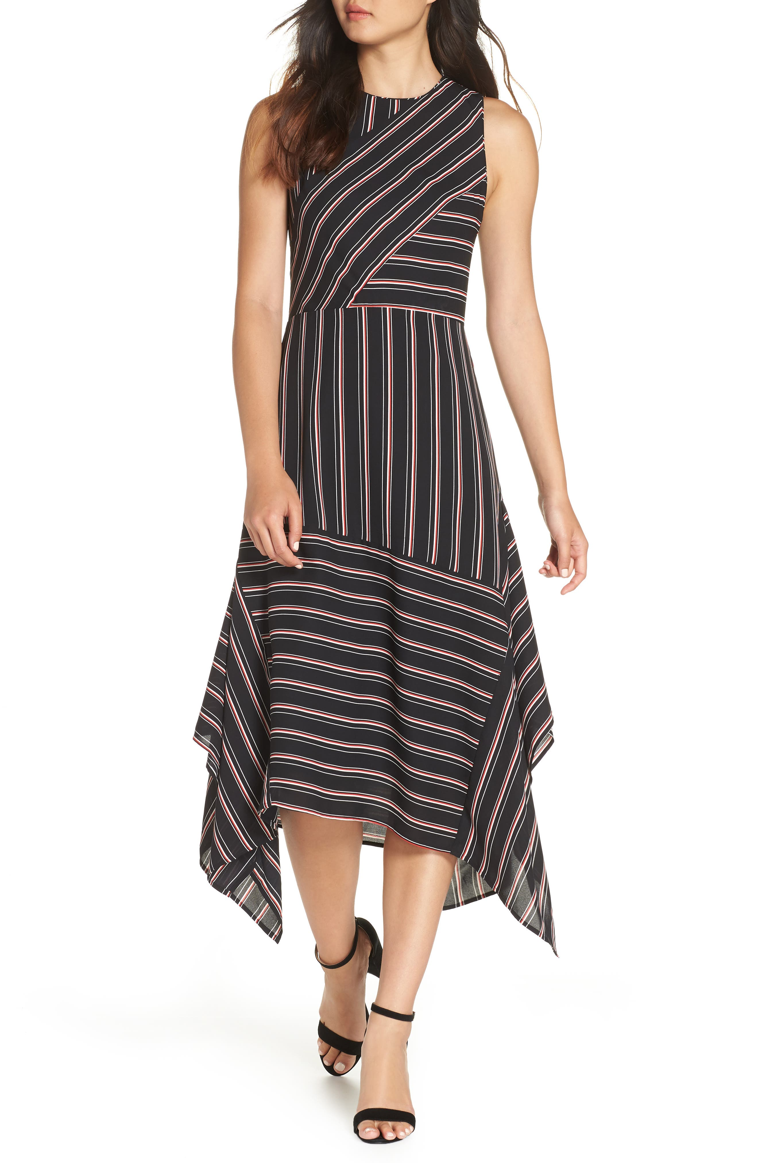 Mix Stripe Midi Dress,                         Main,                         color, BLACK STRIPE MIX COMBO