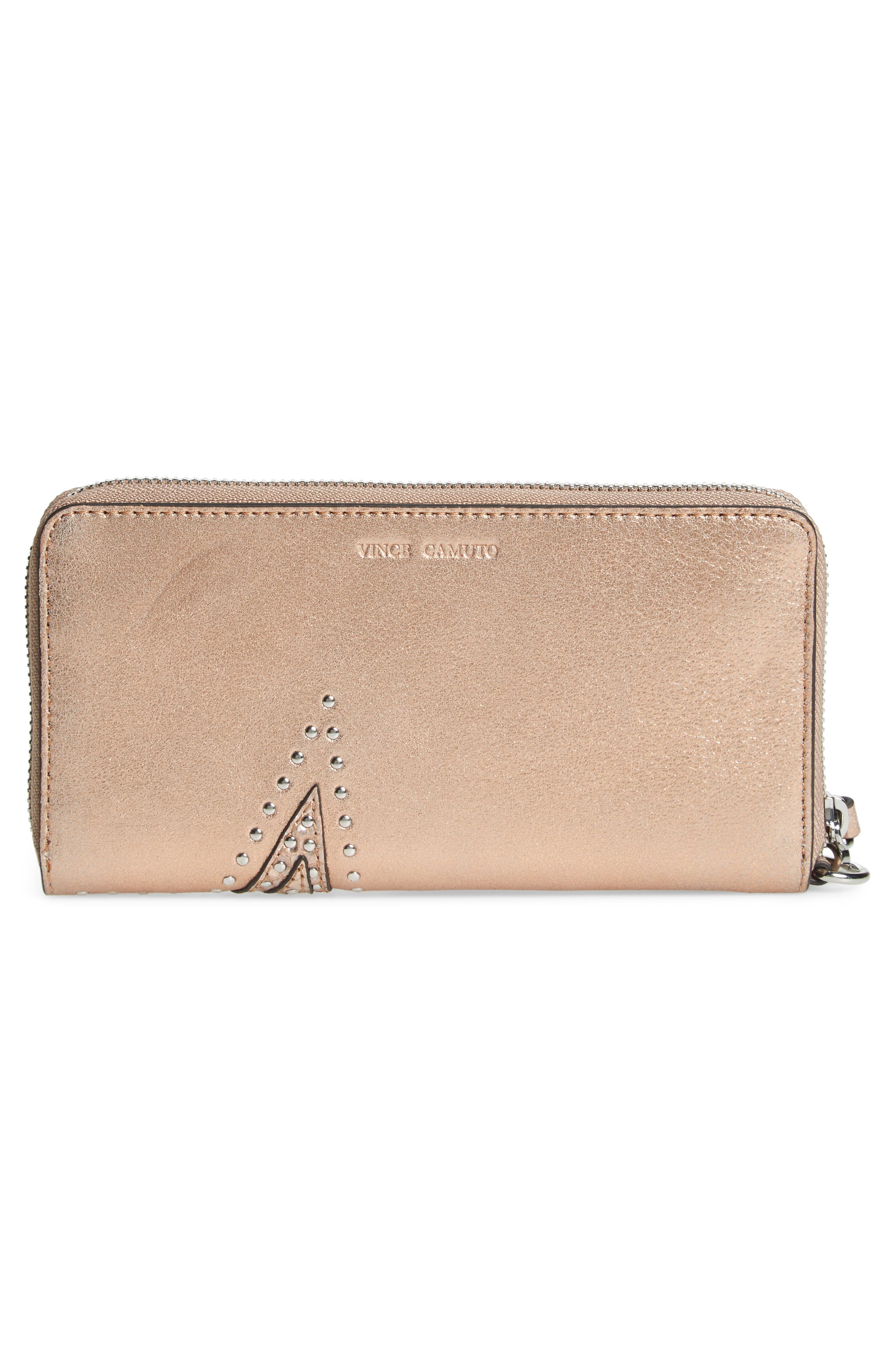 Taz Leather Zip Around Wallet,                             Alternate thumbnail 3, color,                             ROSE GOLD