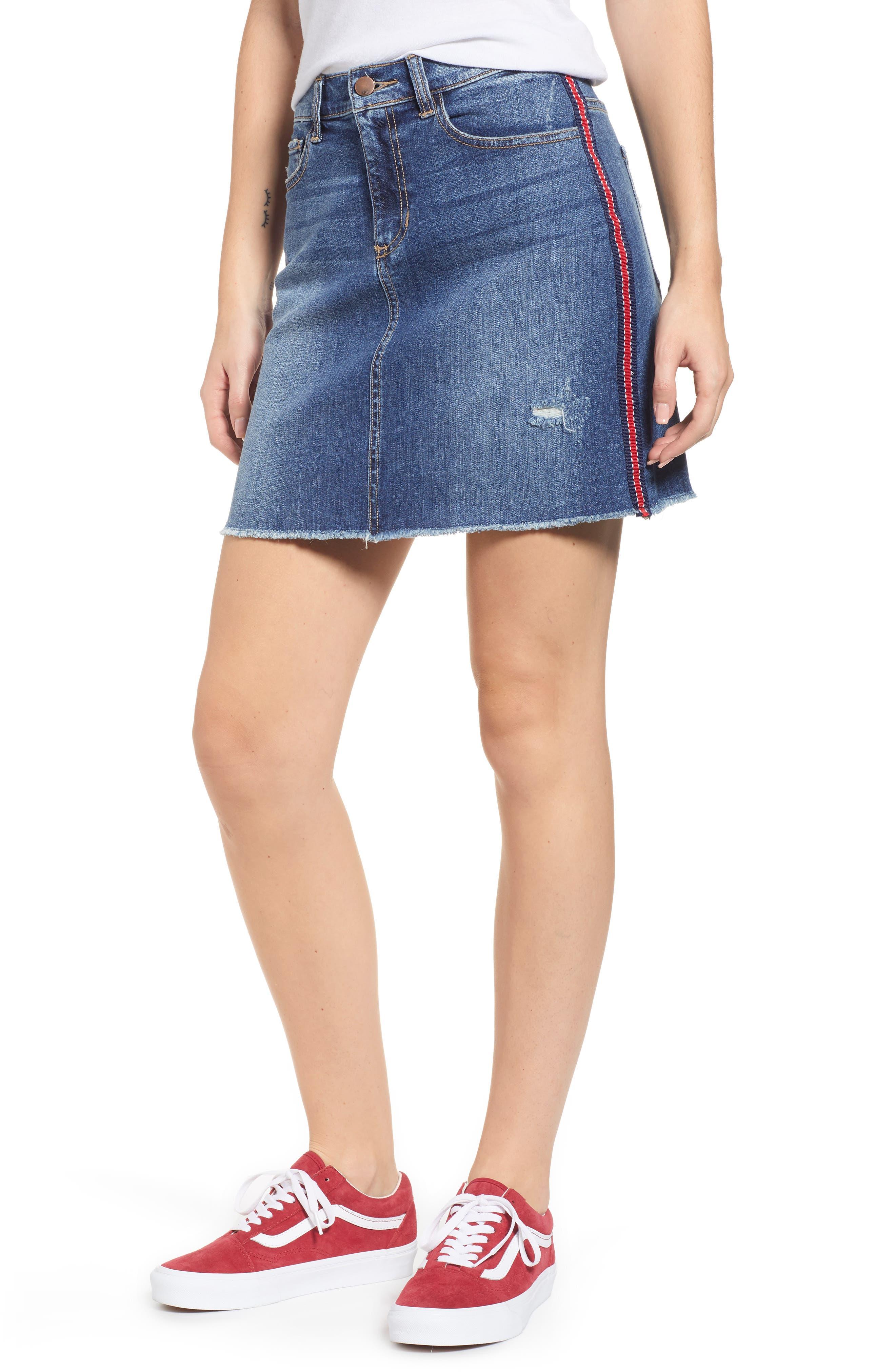 Sp Black Ribbon Side Stripe Denim Miniskirt, Blue
