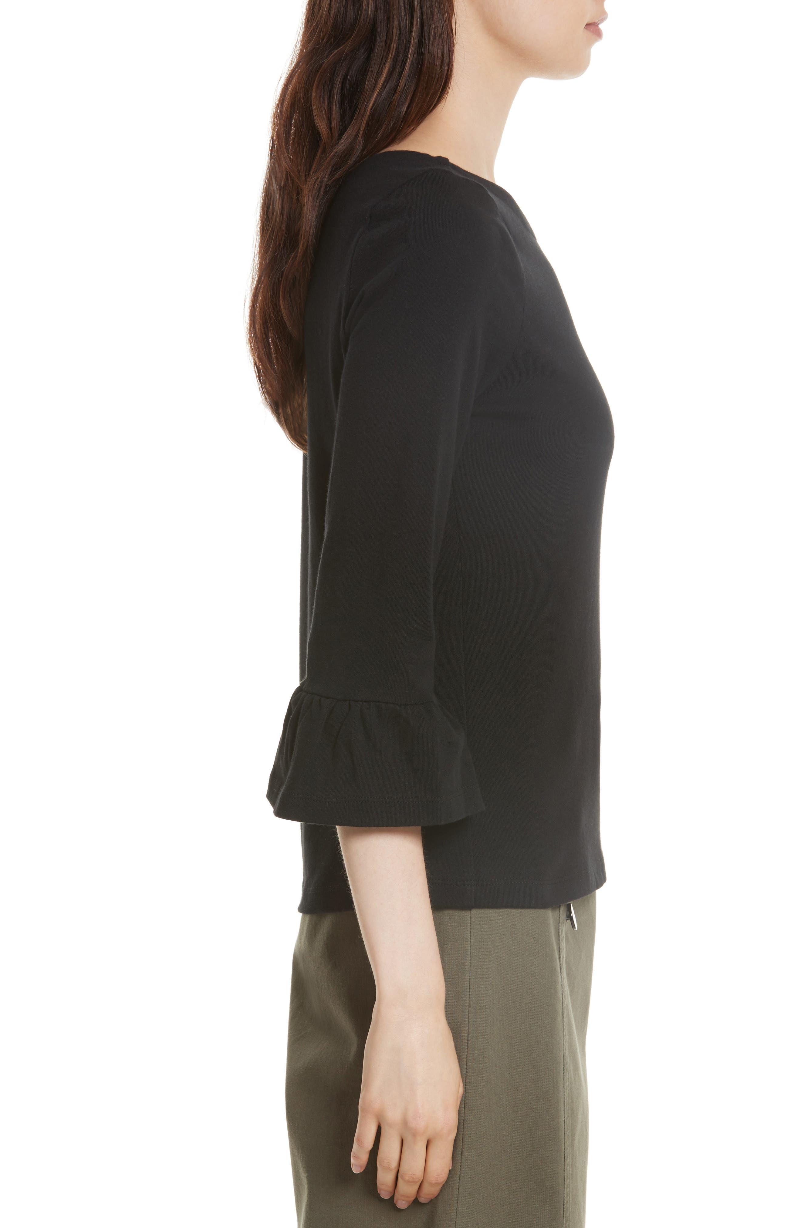 flounce sleeve knit top,                             Alternate thumbnail 3, color,                             001