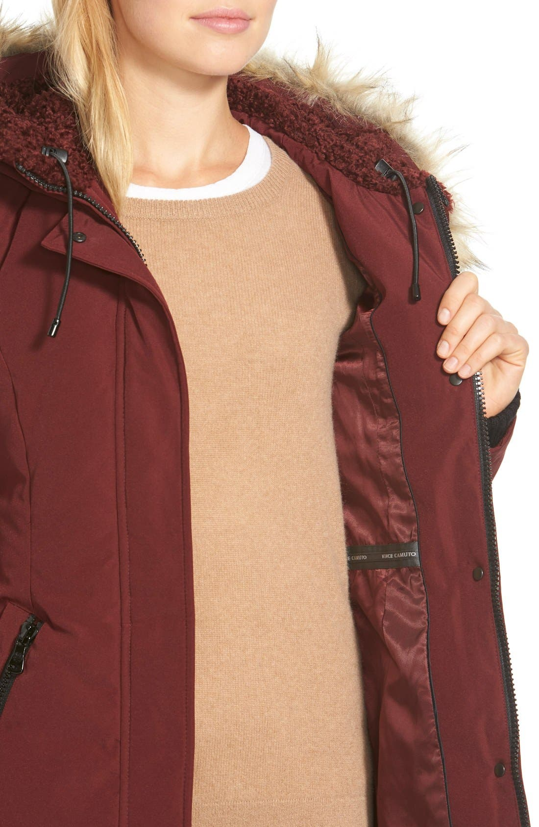 Down & Feather Fill Parka with Faux Fur Trim,                             Alternate thumbnail 12, color,