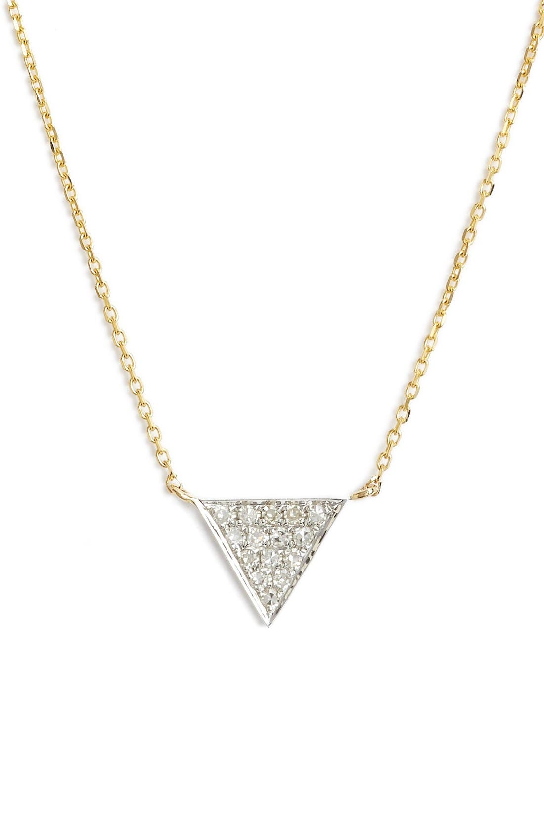 'Emily Sarah' Diamond Triangle Pendant Necklace,                             Main thumbnail 1, color,                             YELLOW GOLD
