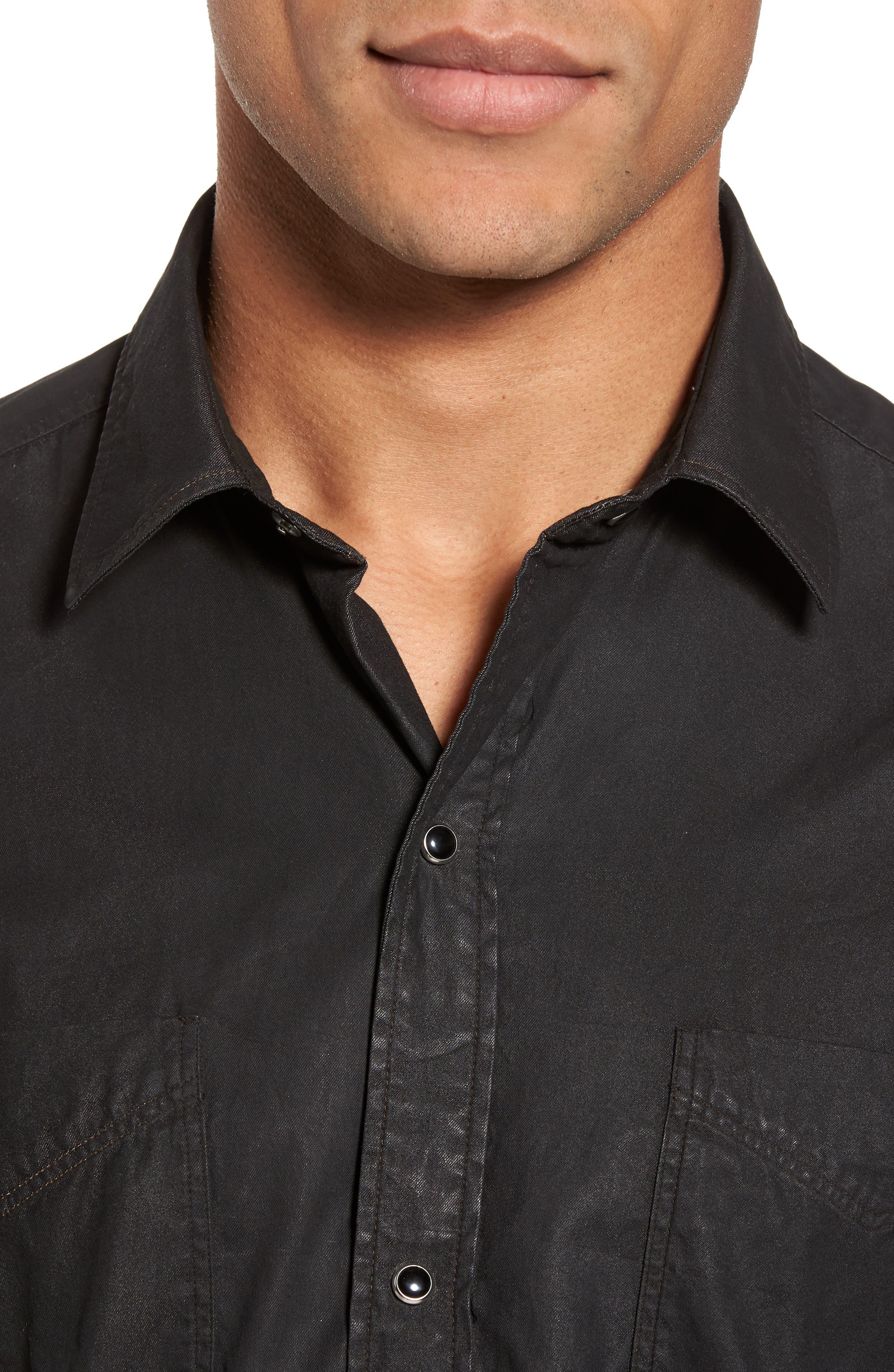 Trim Fit Resin Wash Denim Shirt,                             Alternate thumbnail 4, color,