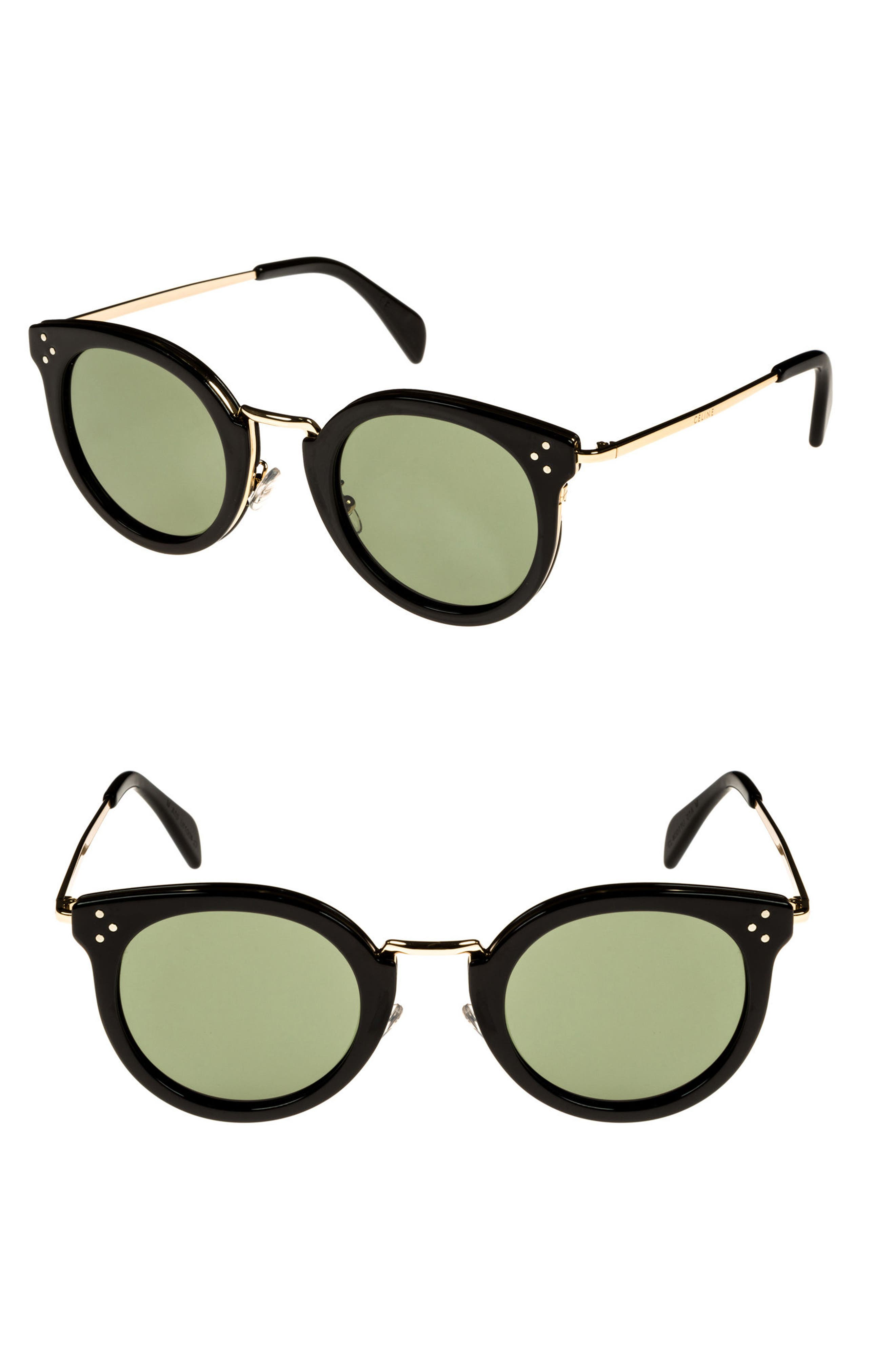49mm Round Sunglasses,                             Main thumbnail 1, color,                             BLACK/ PALE GOLD/ SMOKE