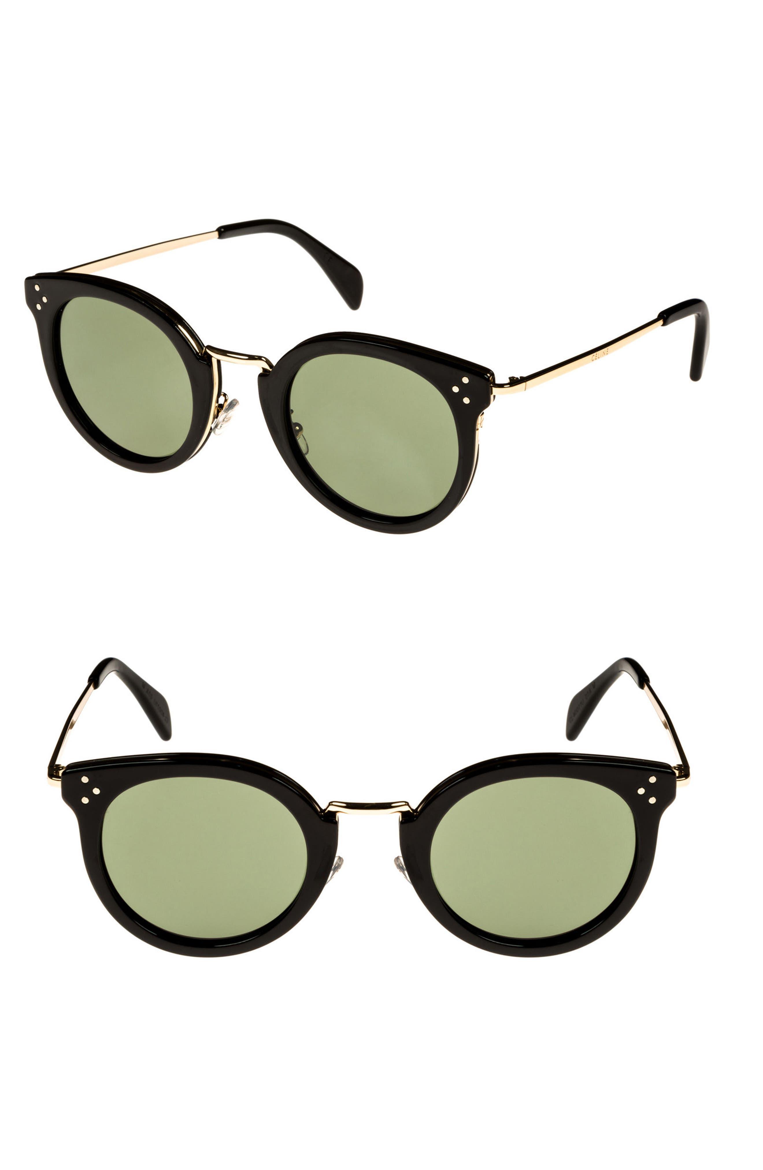 49mm Round Sunglasses,                         Main,                         color, BLACK/ PALE GOLD/ SMOKE