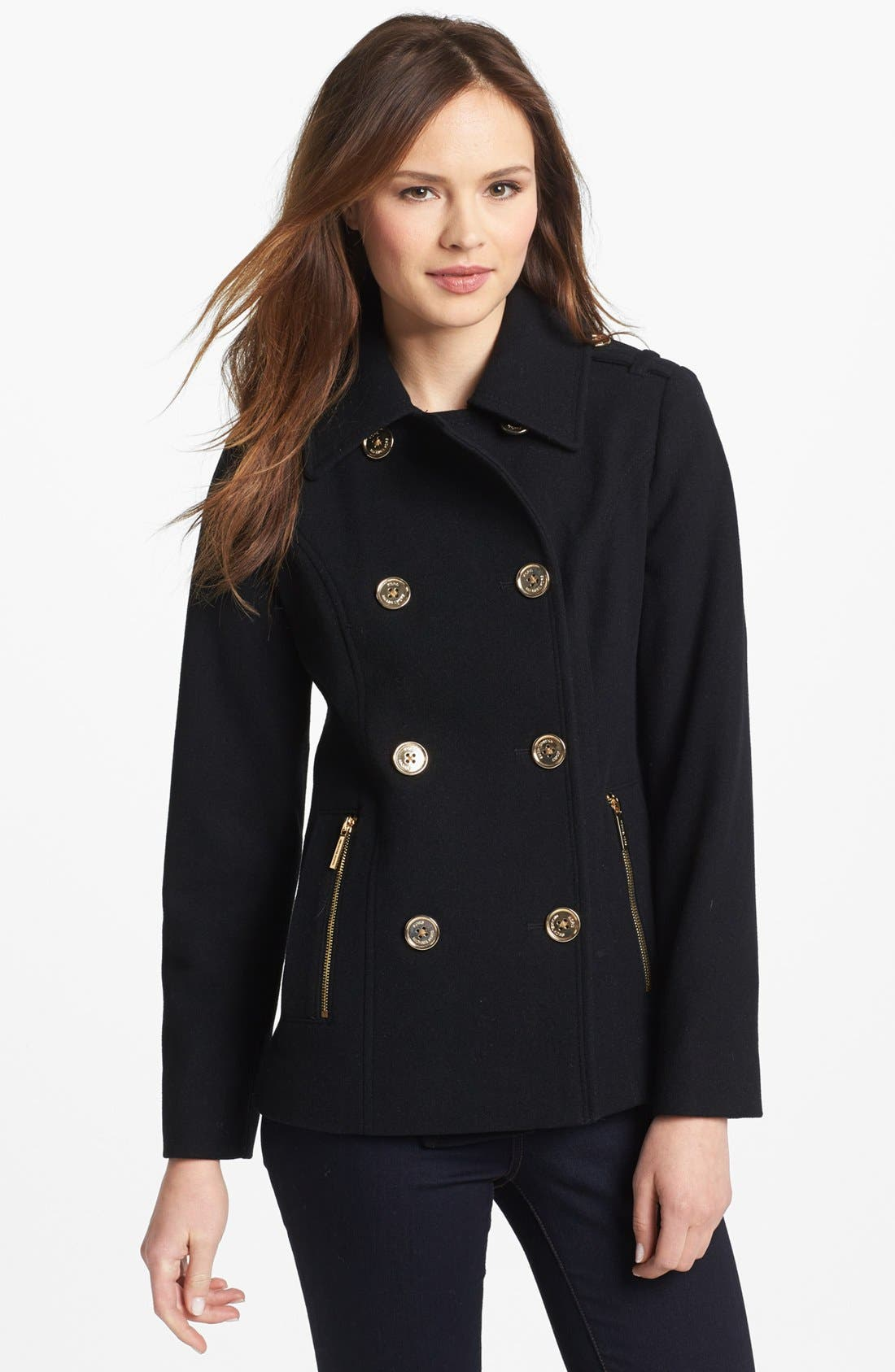 Double Breasted Peacoat,                             Main thumbnail 1, color,                             001