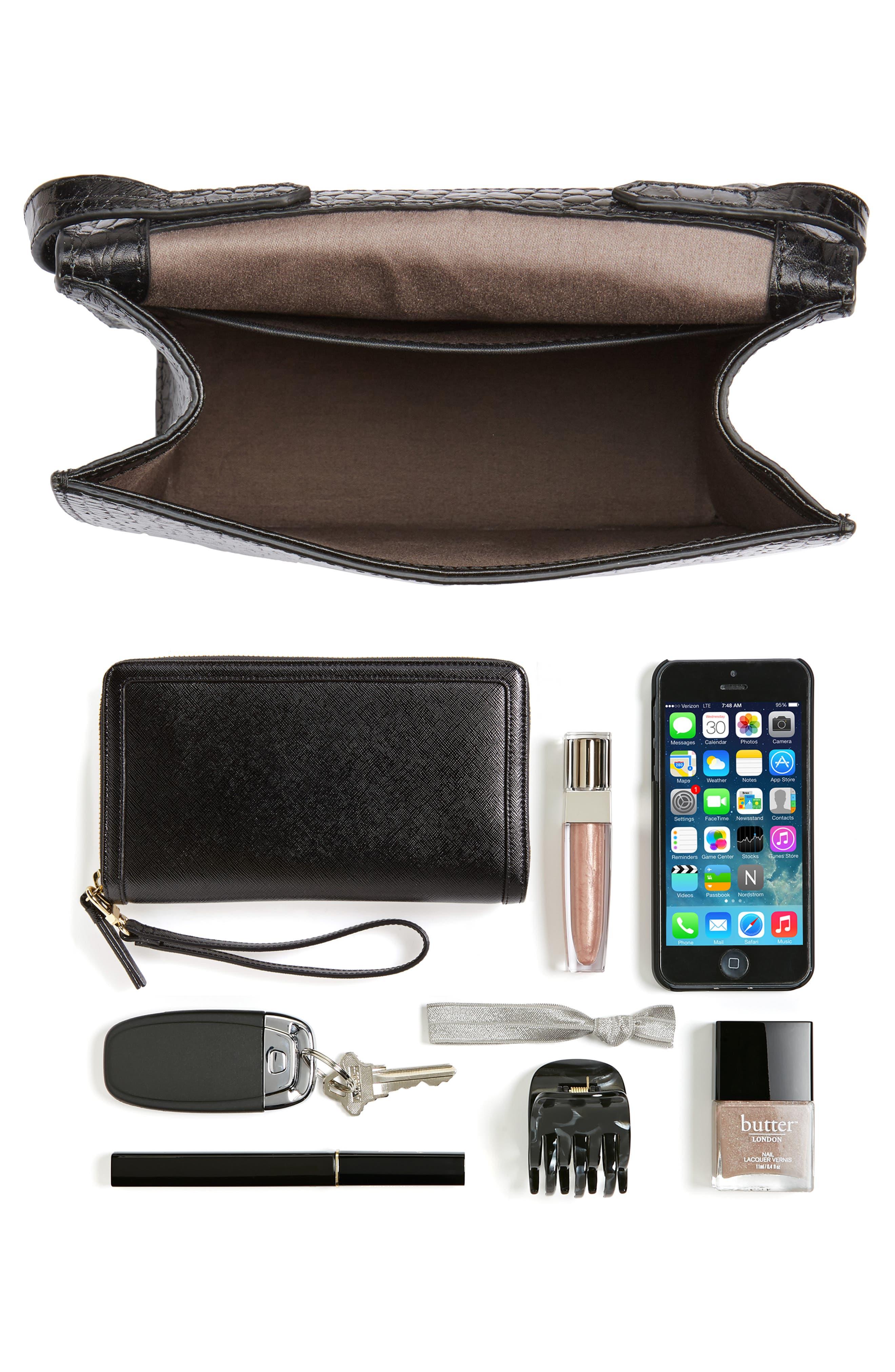 Eloise Leather Crossbody Bag,                             Alternate thumbnail 7, color,                             001