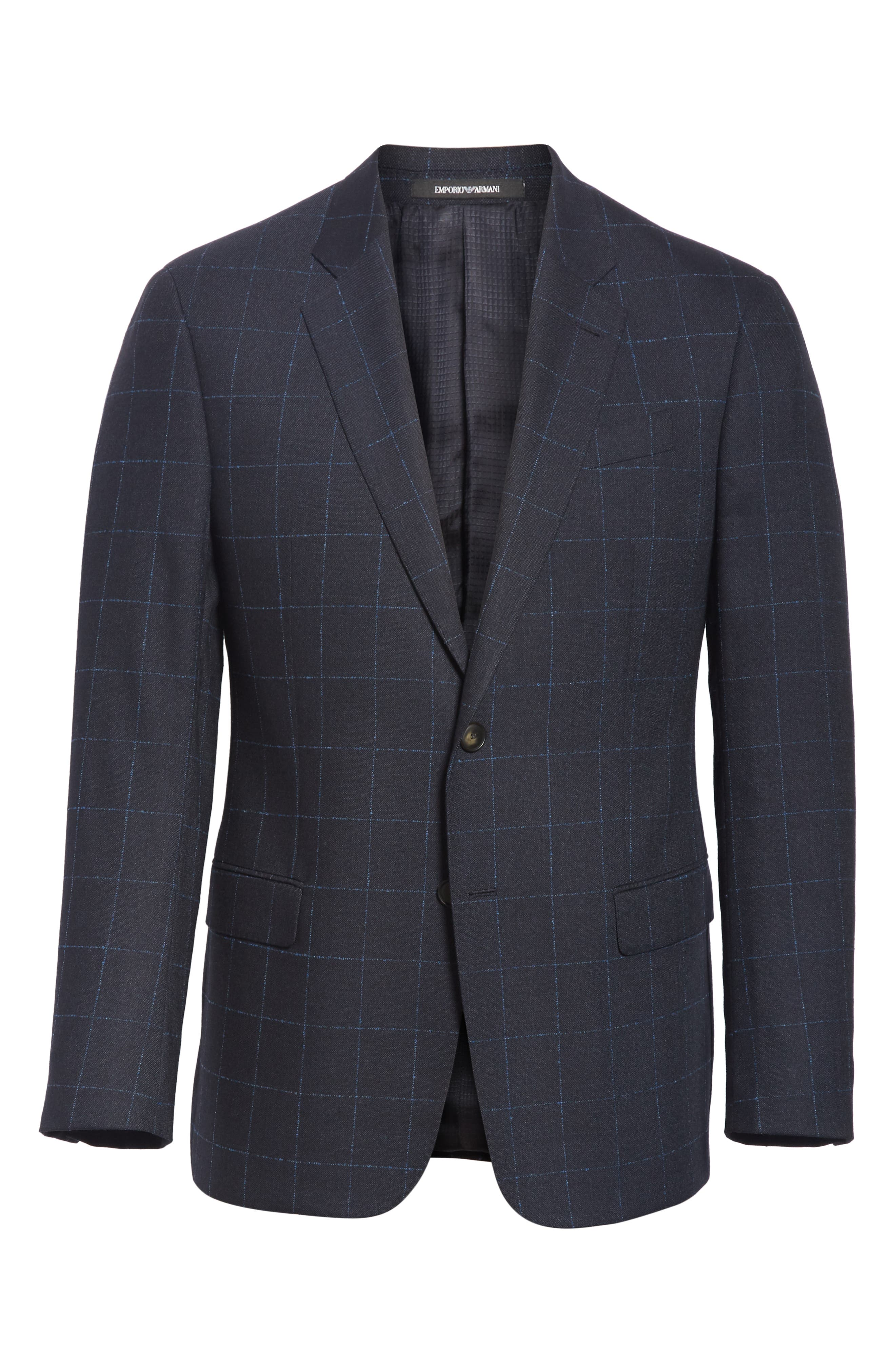 G-Line Trim Fit Stretch Windowpane Sport Coat,                             Alternate thumbnail 5, color,                             NAVY