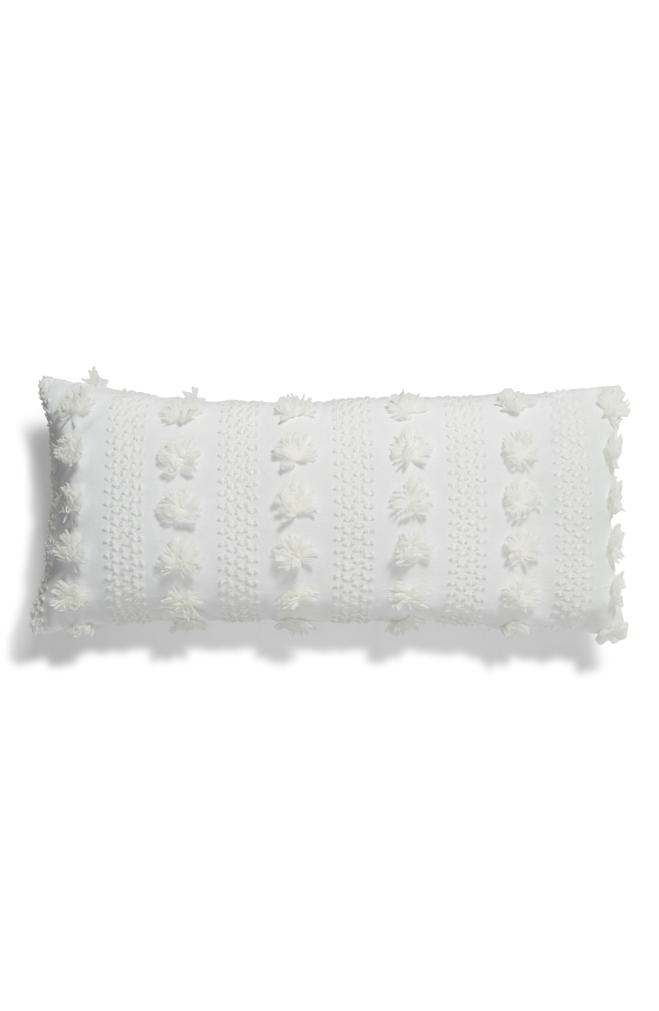 Tufted Overlay Accent Pillow,                             Main thumbnail 1, color,                             WHITE