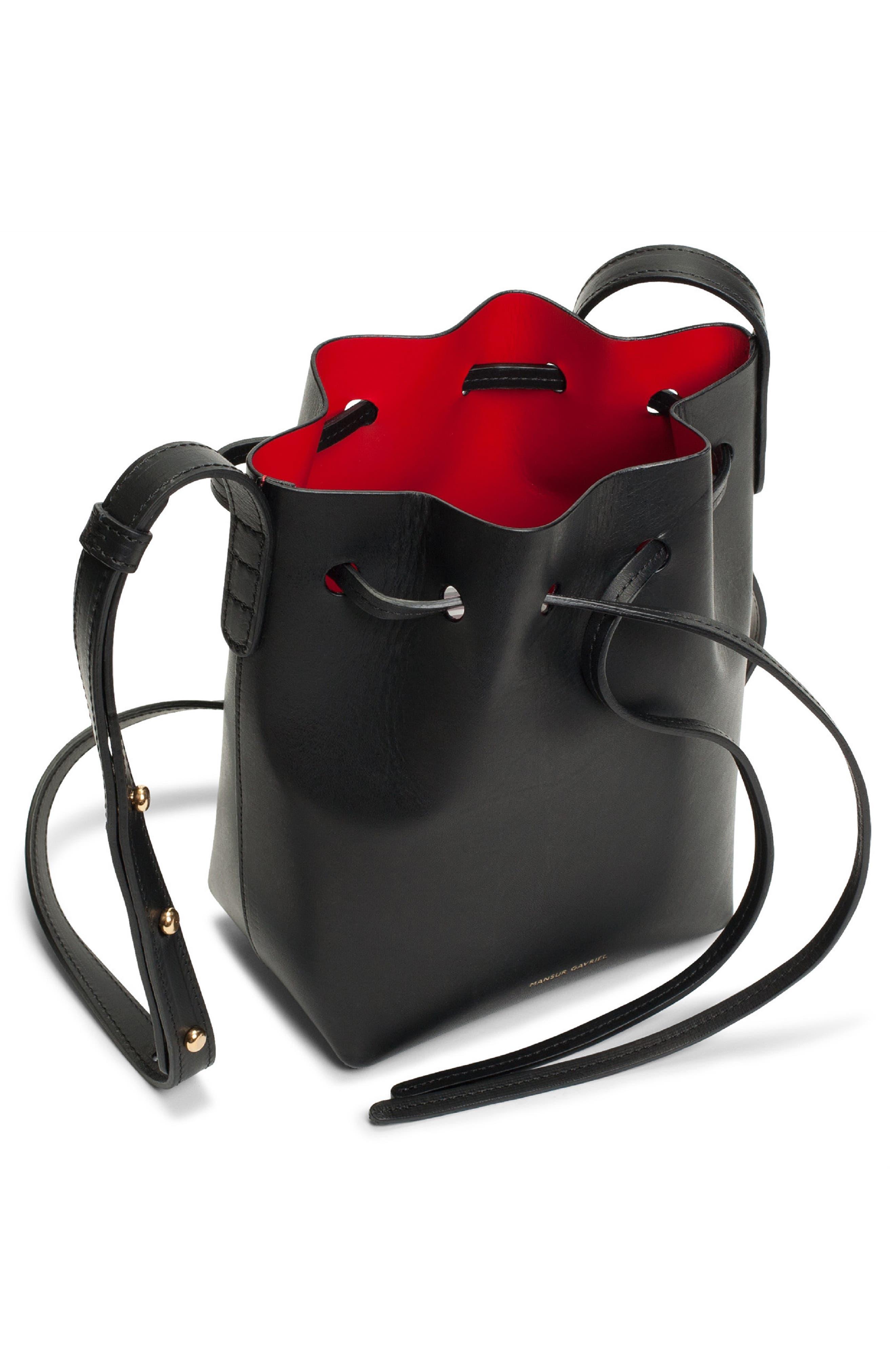 Mini Mini Leather Bucket Bag,                             Alternate thumbnail 2, color,                             BLACK/ FLAMMA