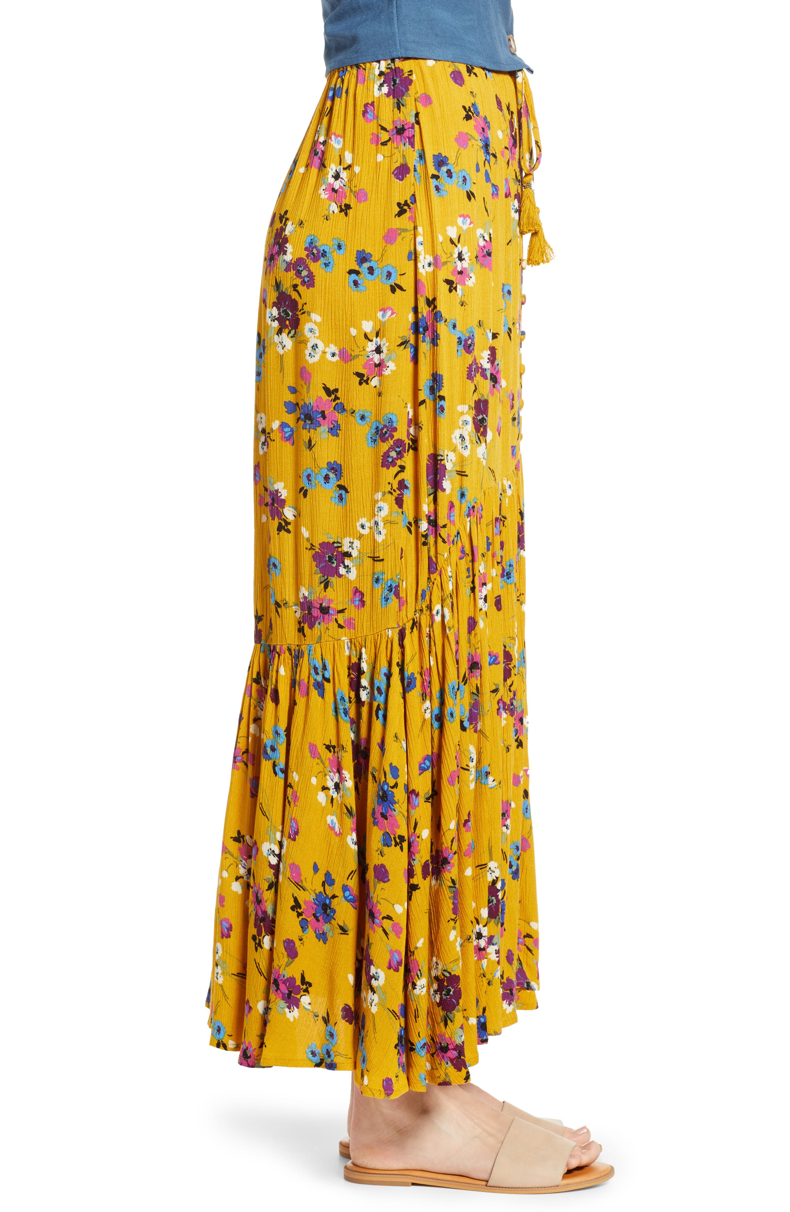 BAND OF GYPSIES,                             Marseille Button Front Maxi Skirt,                             Alternate thumbnail 3, color,                             700