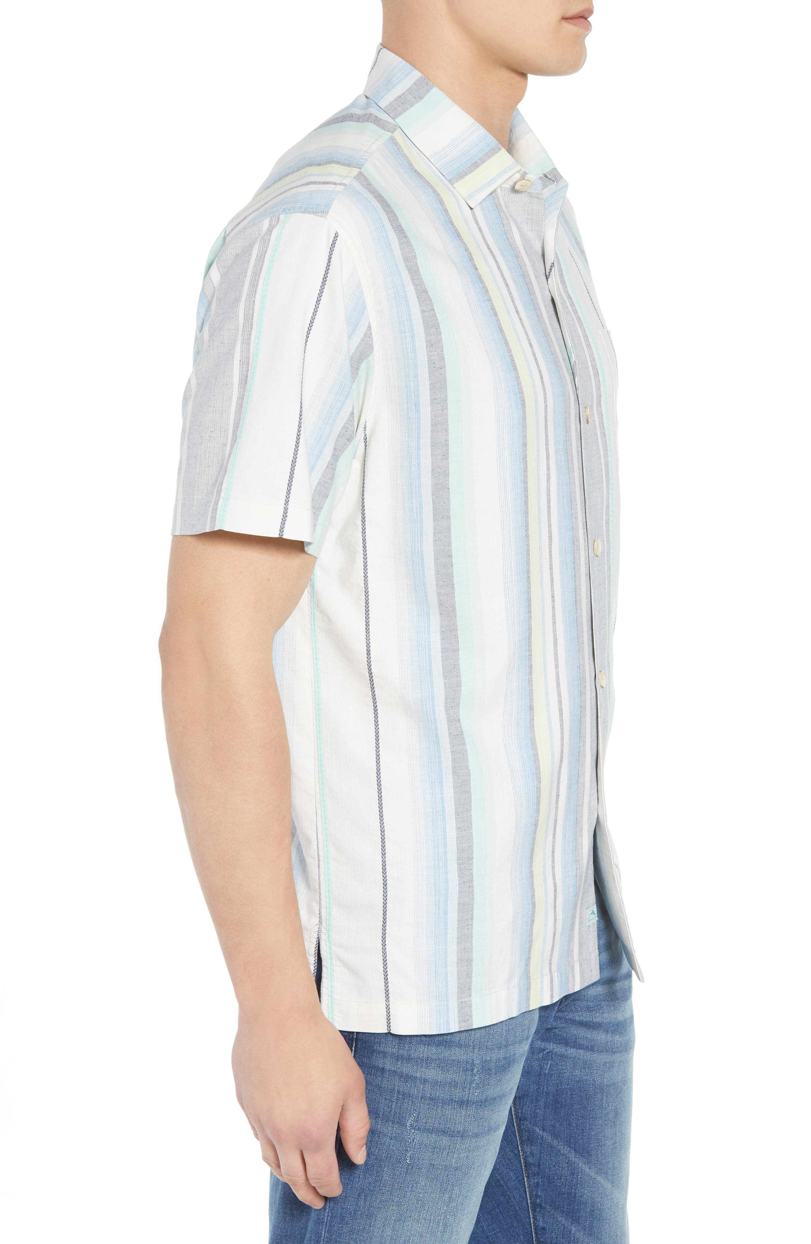 Posado Sands Silk Camp Shirt,                             Alternate thumbnail 3, color,                             BLUE ASTER