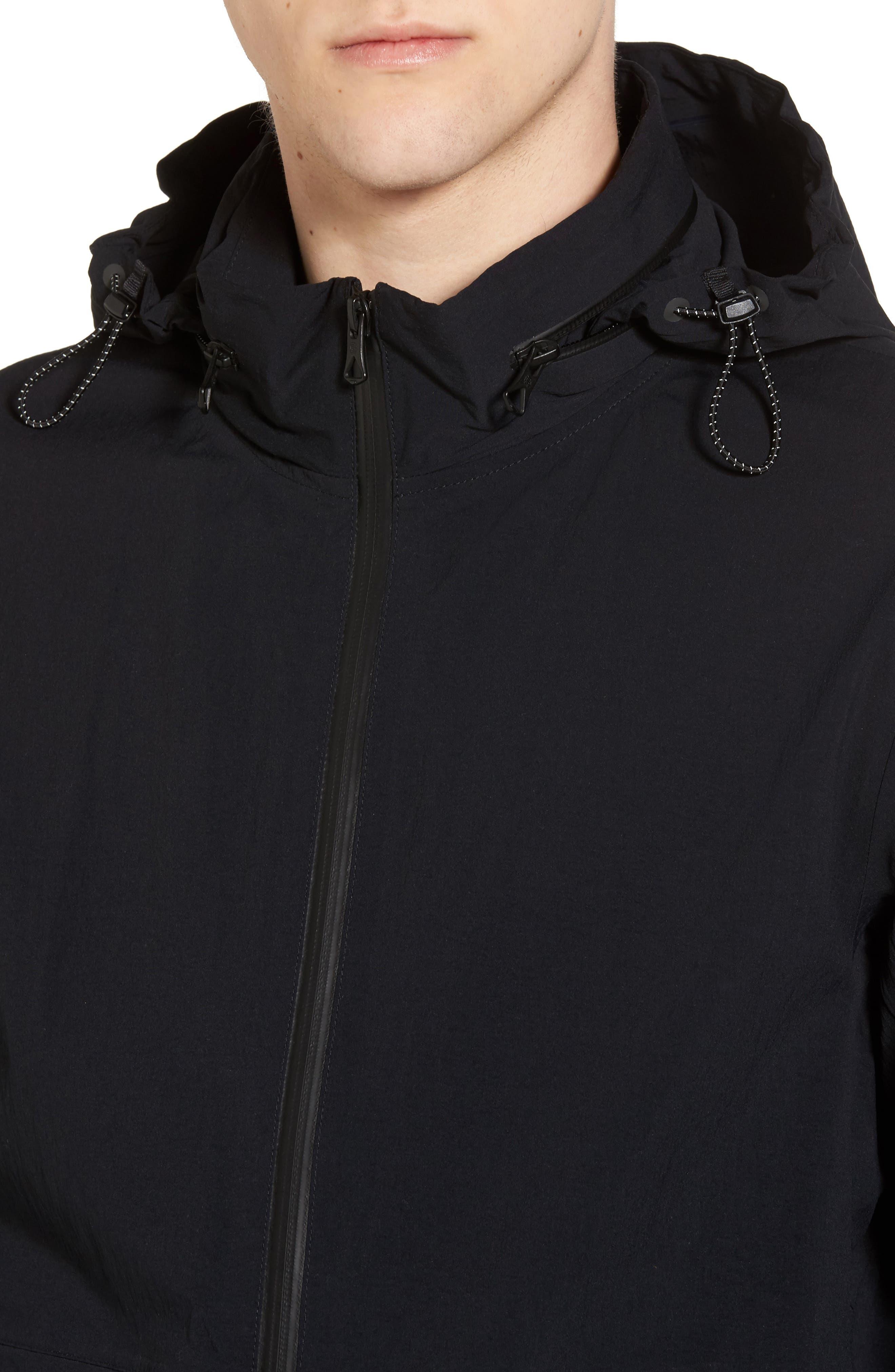 Stow Away Hood Waterproof Jacket,                             Alternate thumbnail 4, color,                             001