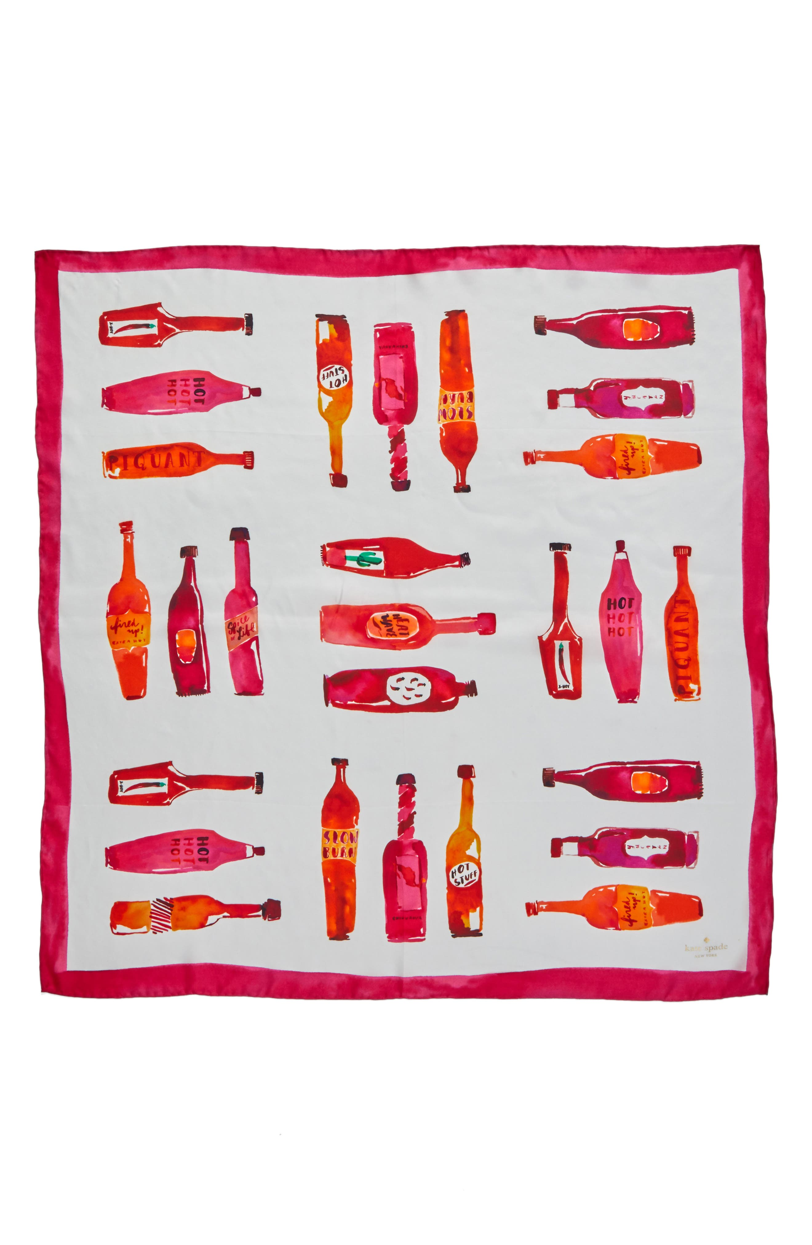hot sauce square silk scarf,                             Alternate thumbnail 3, color,                             900