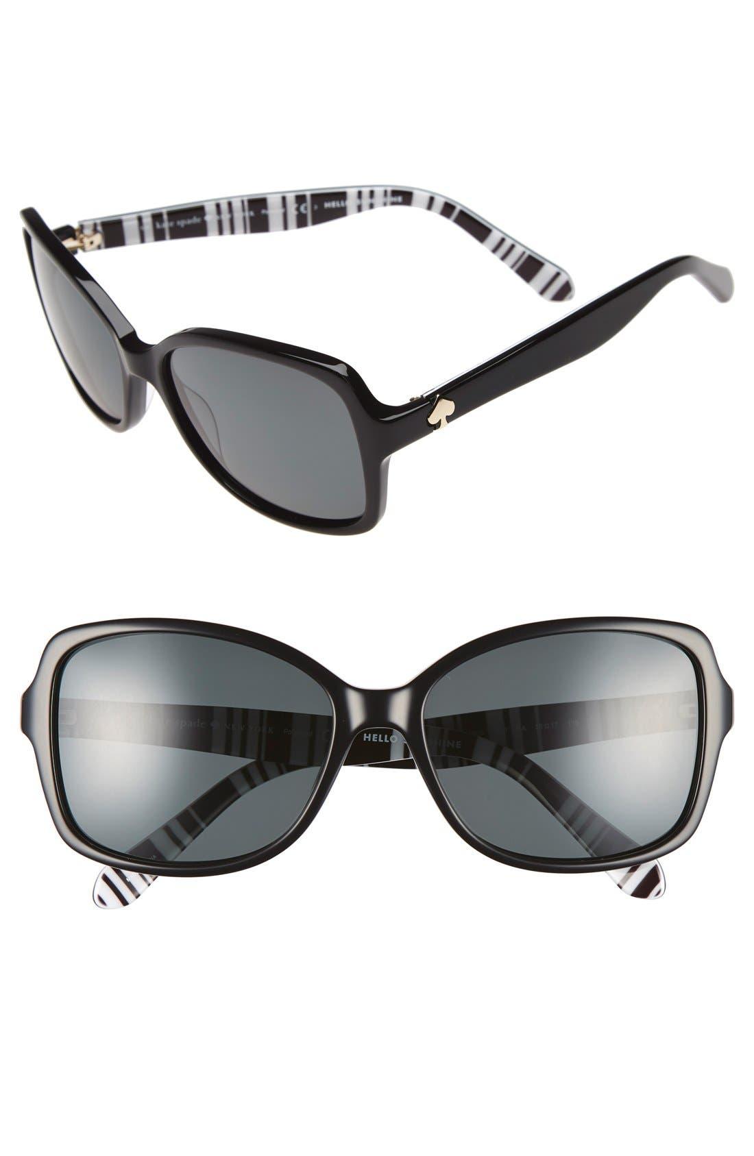 'ayleen' 56mm polarized sunglasses,                         Main,                         color, 001