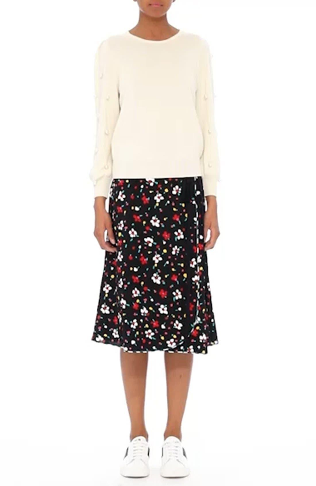 Floral Silk Jacquard Wrap Skirt,                             Alternate thumbnail 8, color,                             002