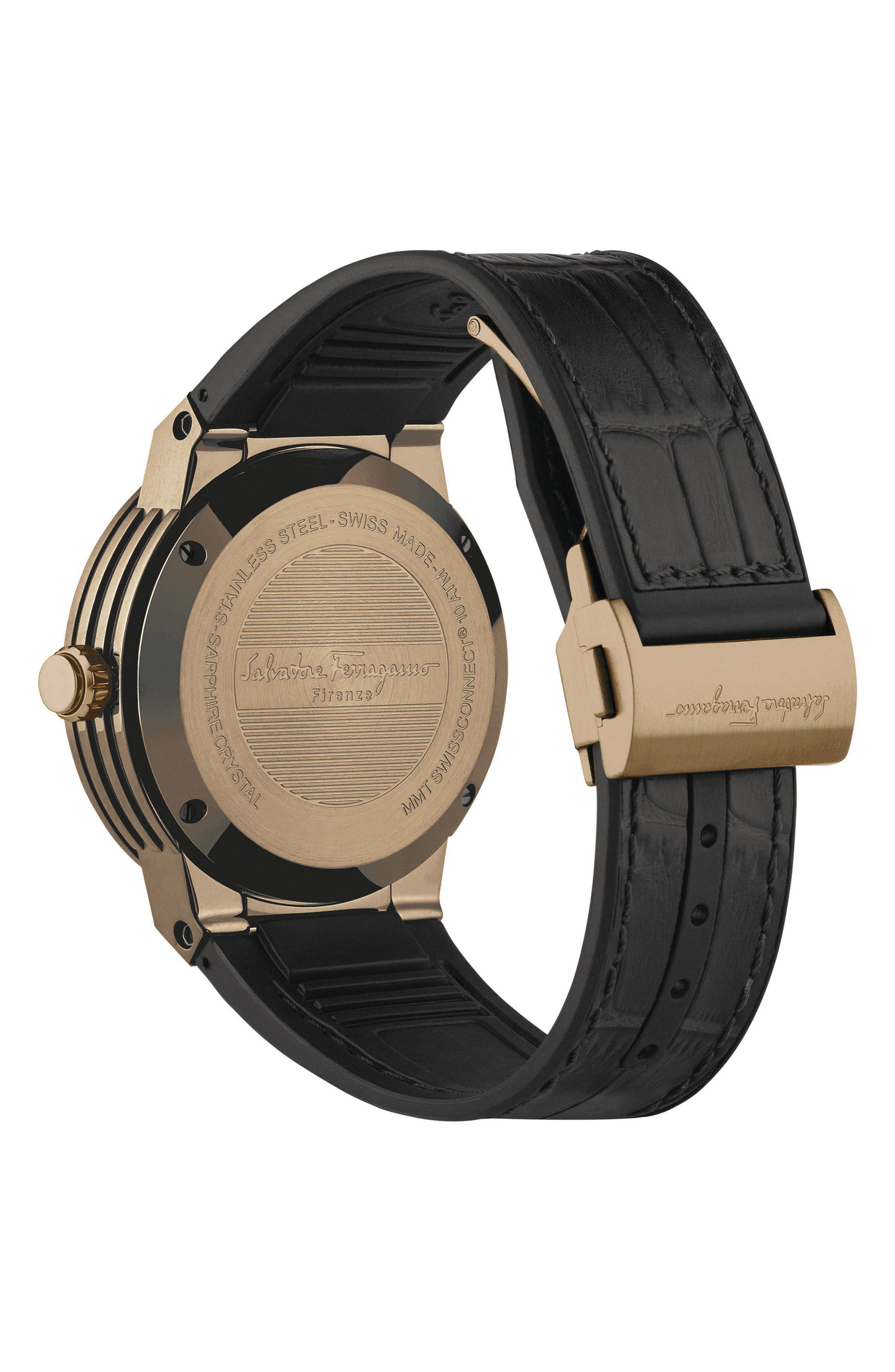 'F-80 Motion' Leather Strap Smart Watch, 44mm,                             Alternate thumbnail 5, color,