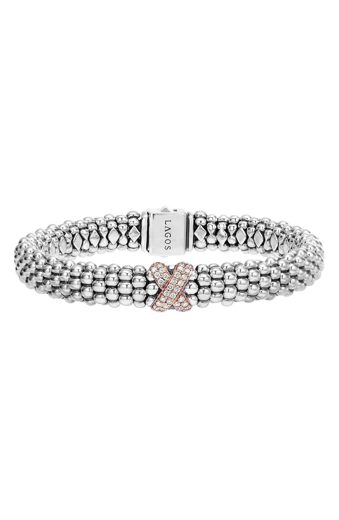 'Caviar' Gold Diamond Rope Bracelet,                             Main thumbnail 1, color,                             SILVER/ ROSE GOLD